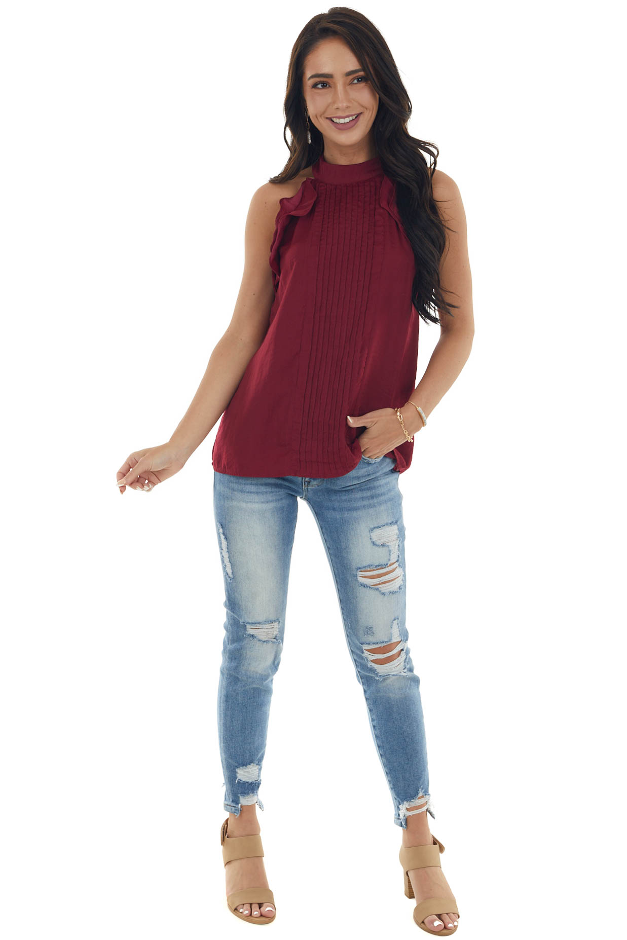 Wine Pleated Halter Neck Blouse with Ruffles