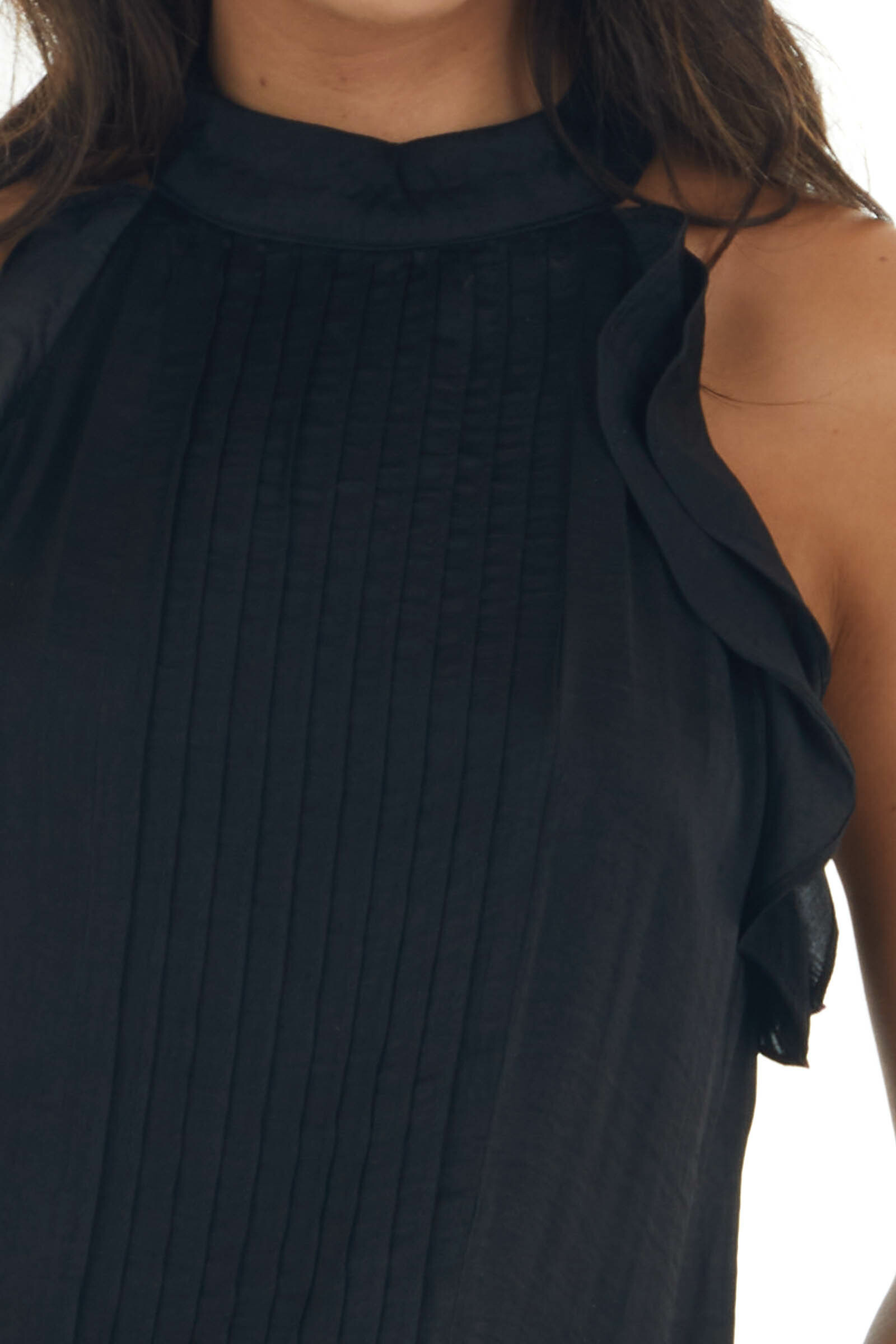 Black Pleated Halter Neck Blouse with Ruffles