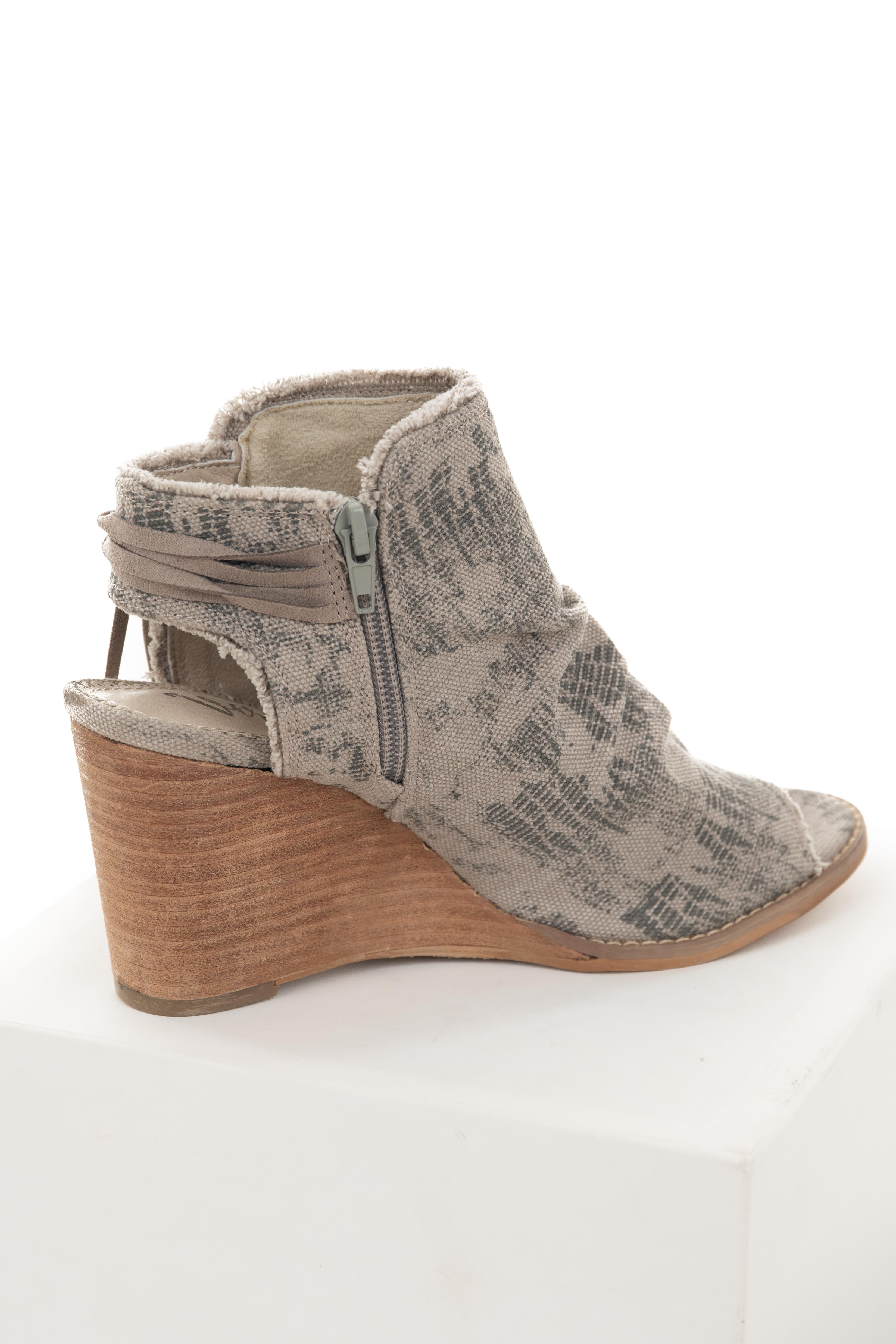 Oatmeal Printed Slouchy Open Toe Wedge Booties