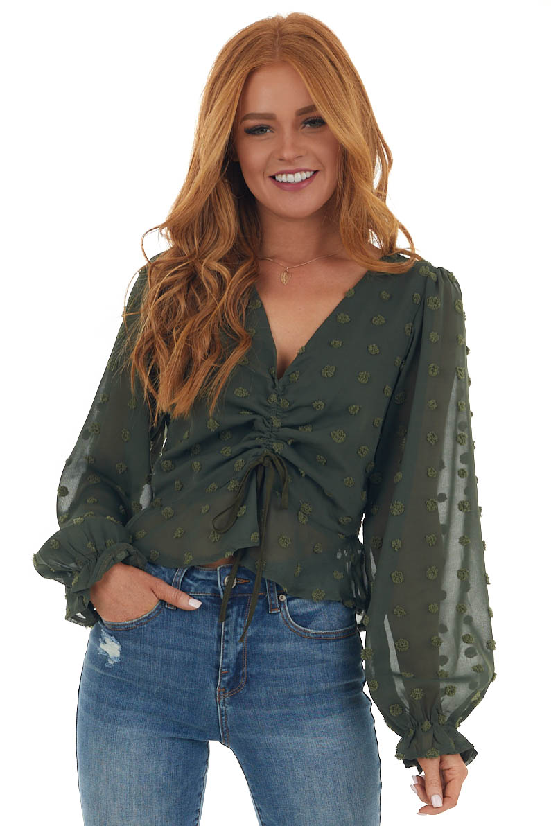Olive Swiss Dot Ruched Bubble Sleeve Blouse