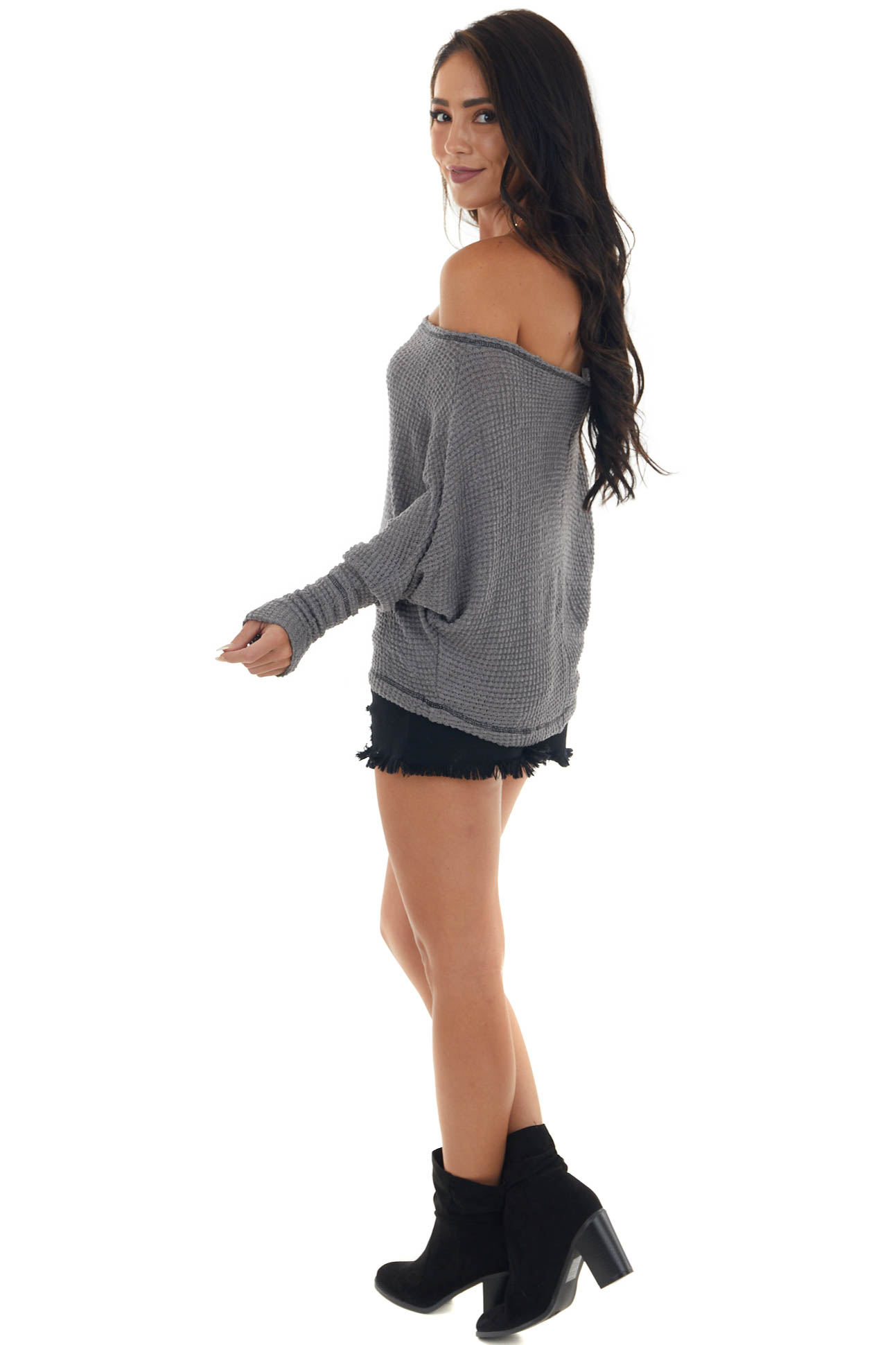 Graphite Off Shoulder Top with Outseam Details