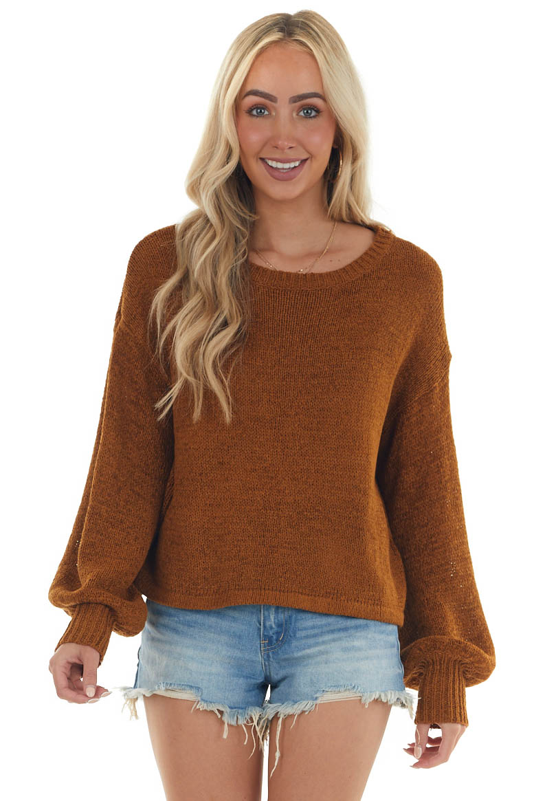 Spice Brown Long Bubble Sleeve Knit Sweater