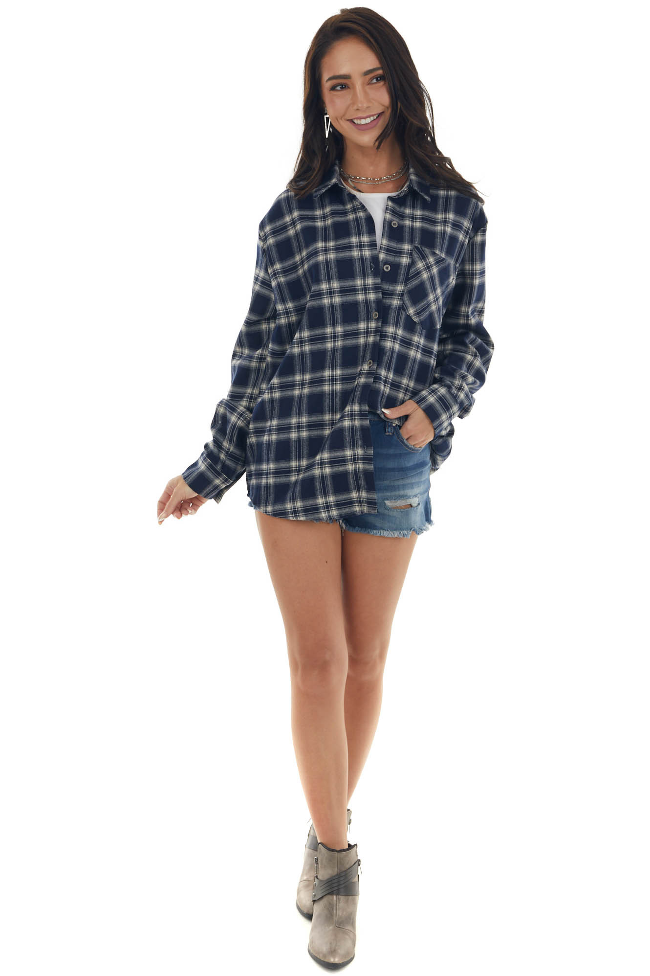 Navy and Cream Flannel Woven Button Down Top