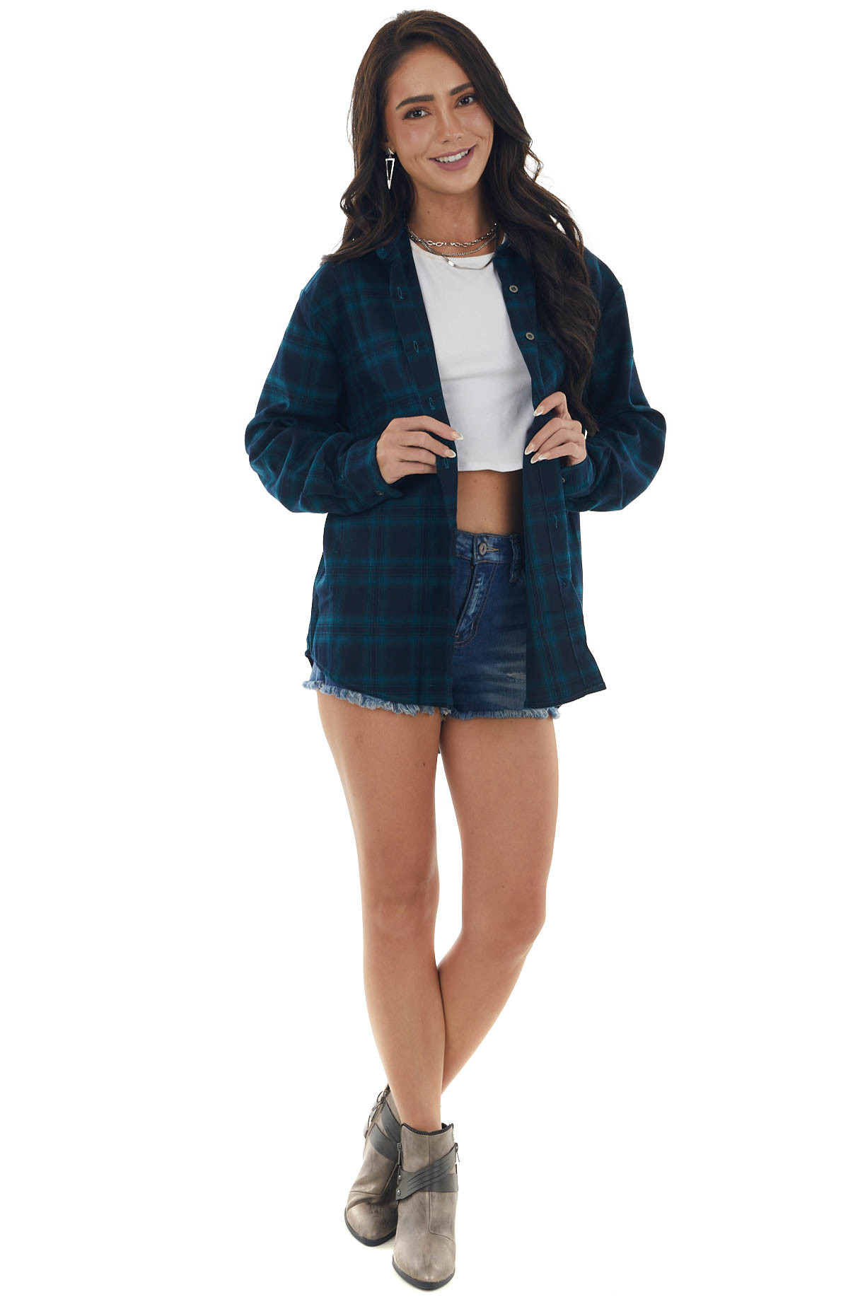 Navy and Pine Flannel Woven Button Down Top