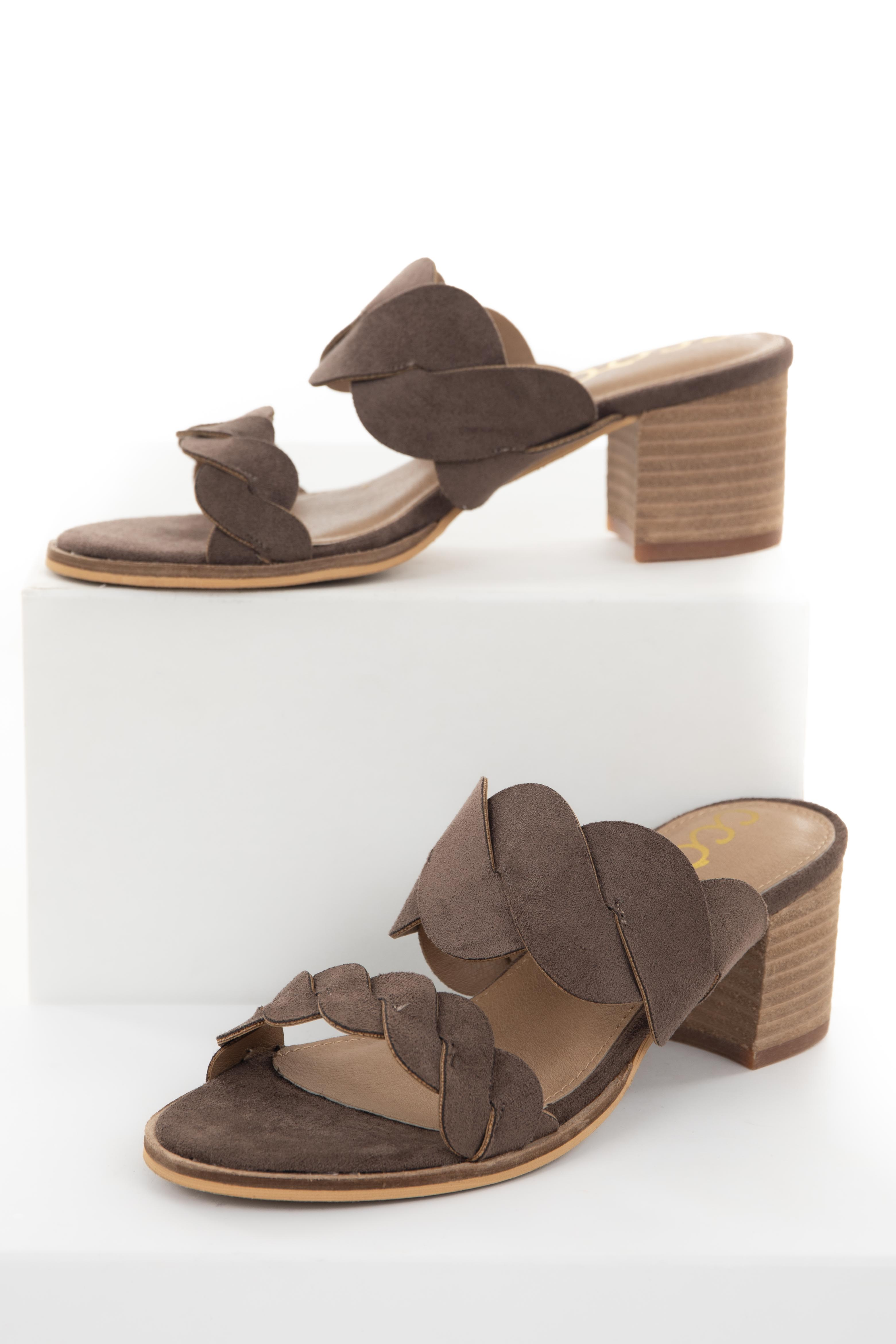 Coffee Open Toe Heel with Braided Straps