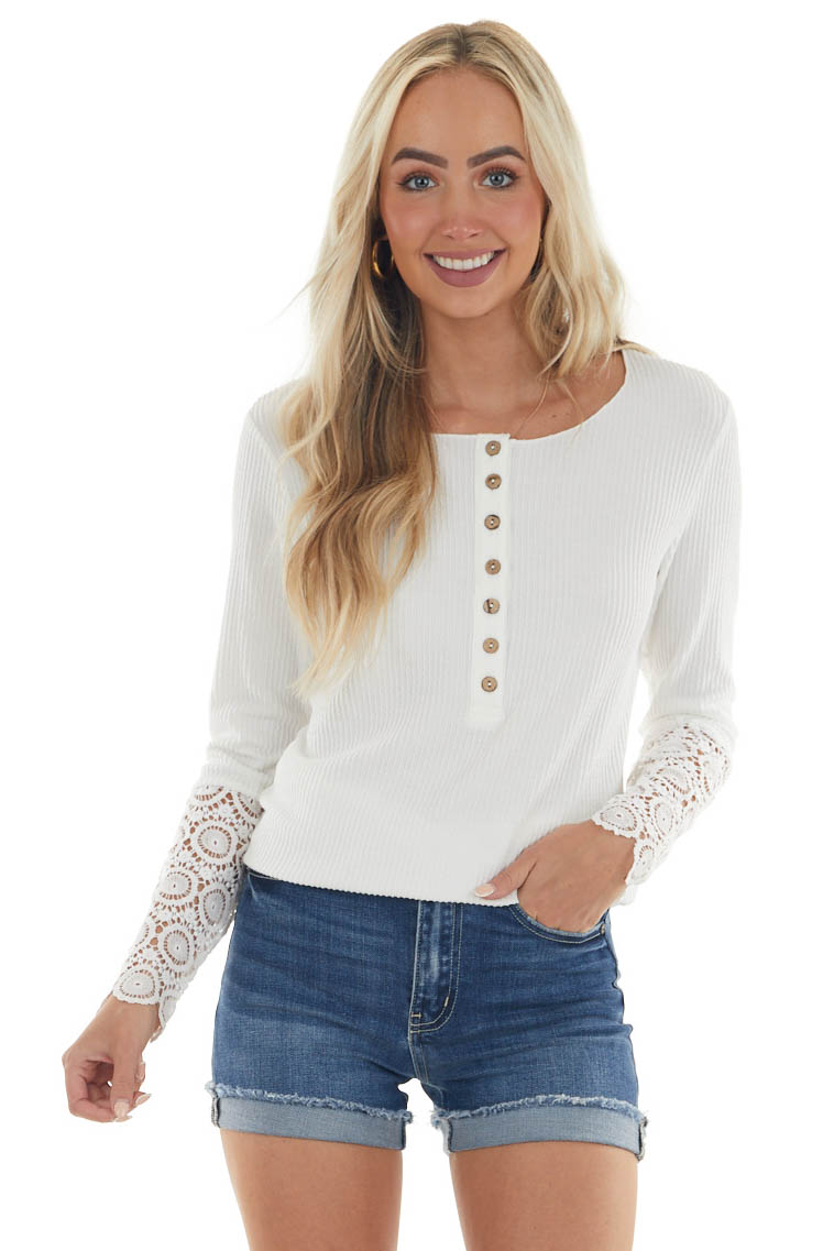 Off White Long Lace Sleeve Ribbed Henley Top