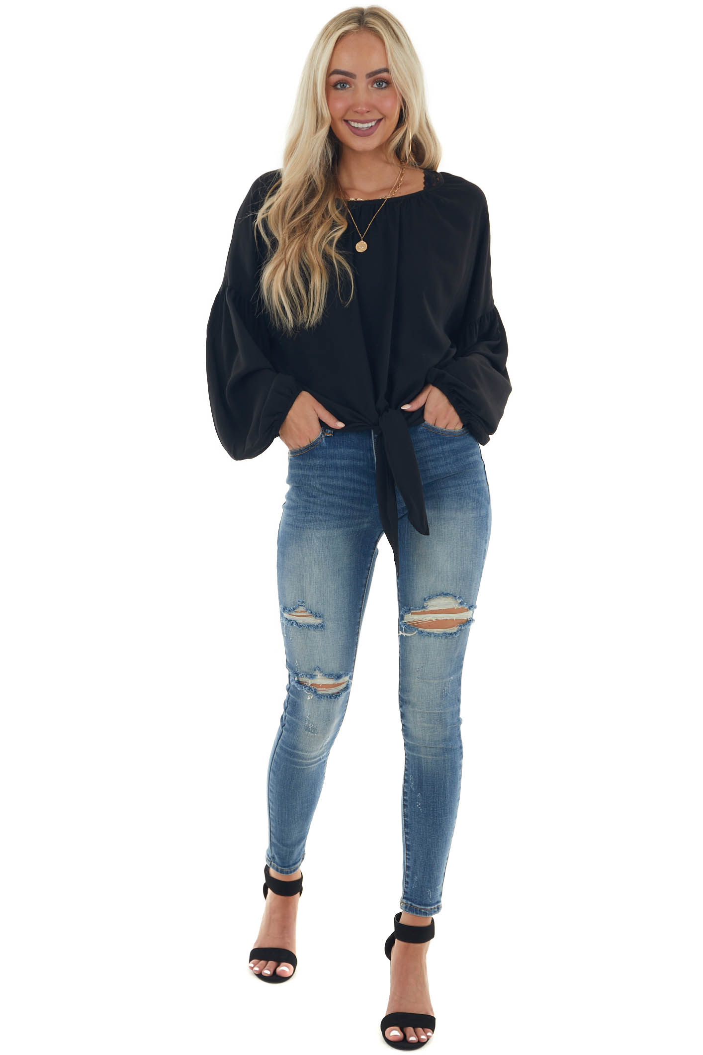 Black Front Tie Long Puff Sleeve Blouse
