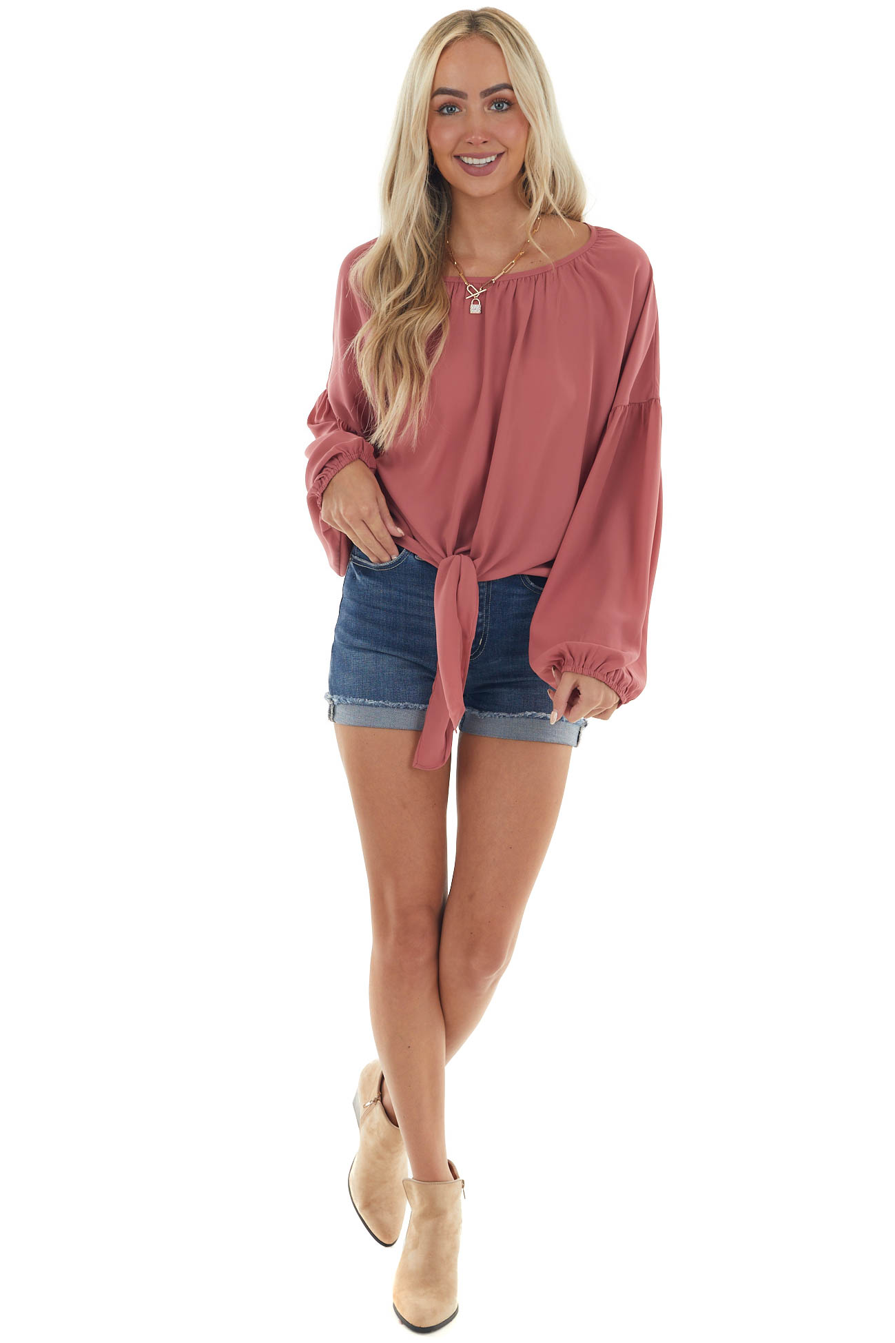 Vintage Rose Front Tie Long Puff Sleeve Blouse
