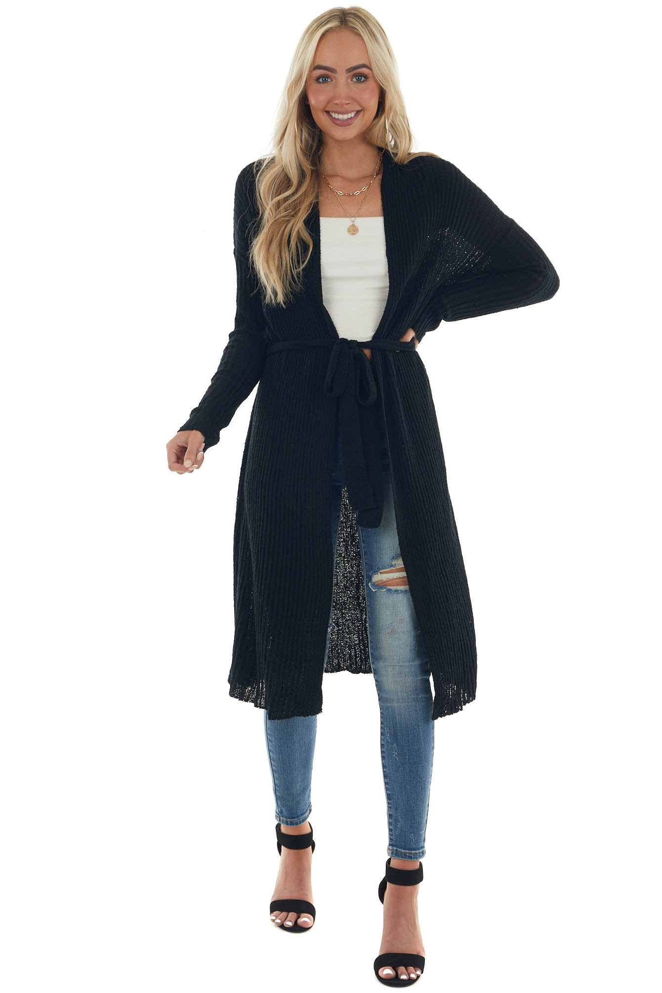 Black Open Front Duster Cardigan with Tie
