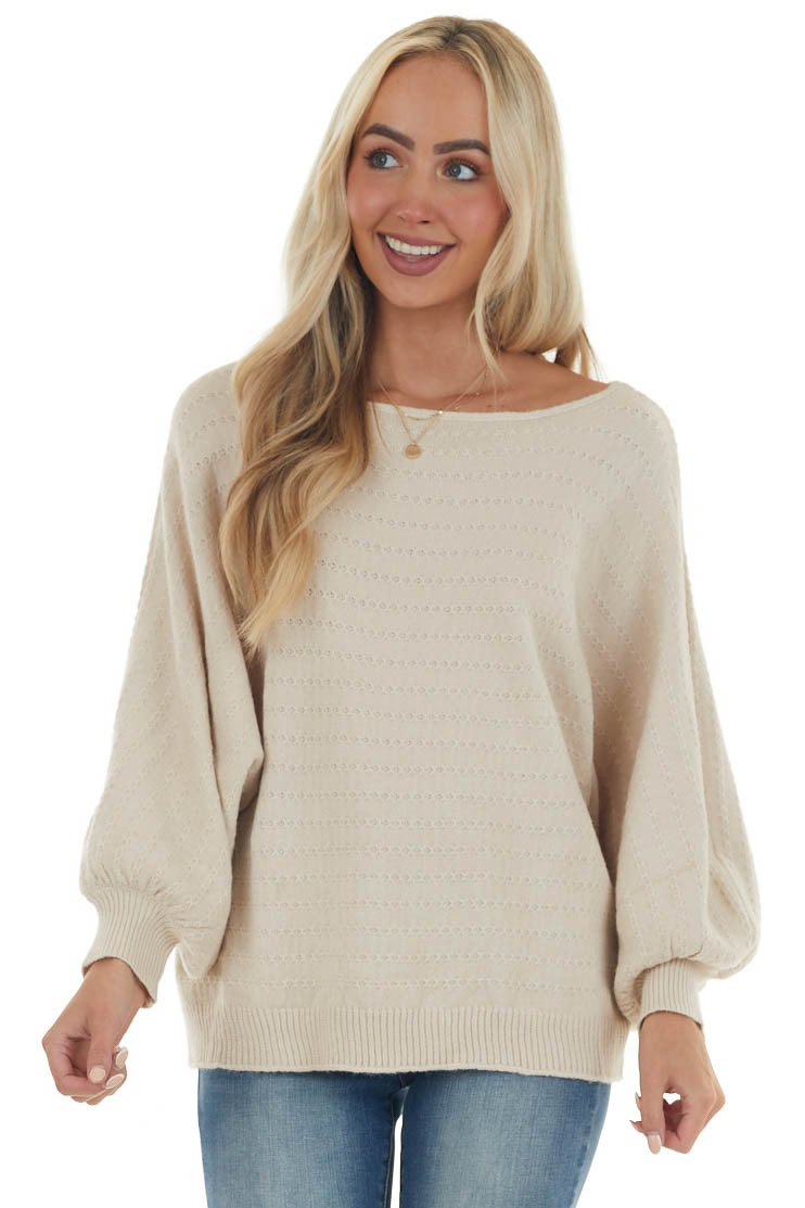 Champagne Boat Neck Bubble Sleeve Knit Sweater