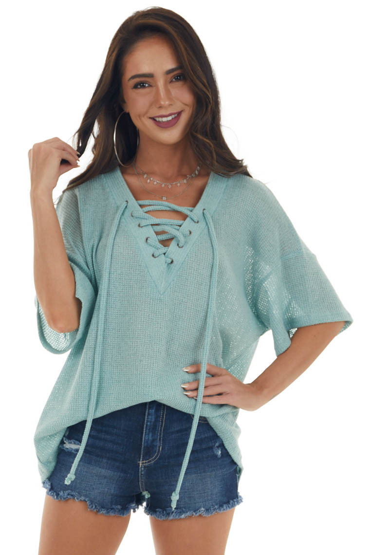 Sage Loose Knit Top with Lace Up V Neckline
