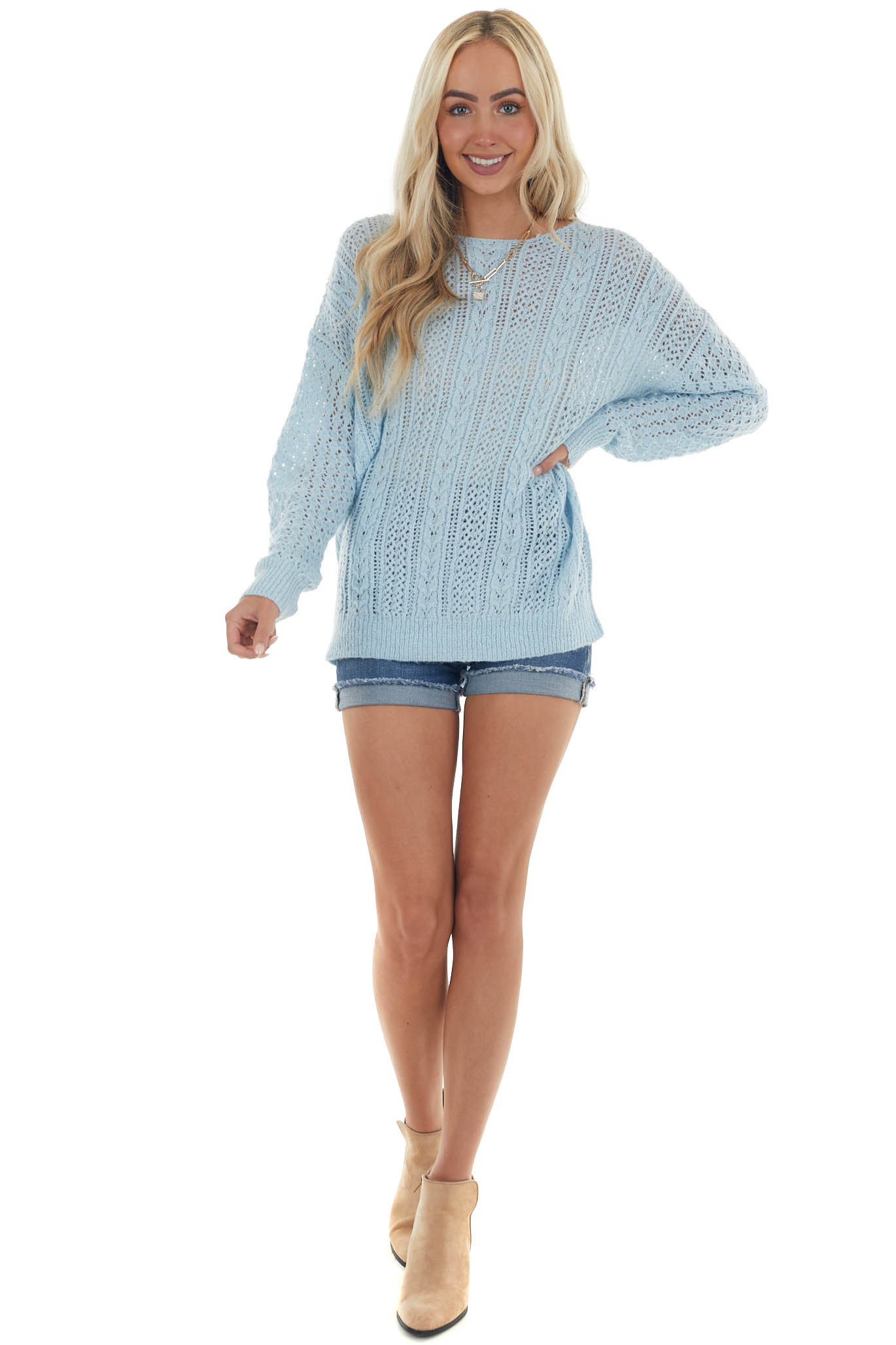 Baby Blue Cable Knit Long Sleeve Sweater with Ribbed Details