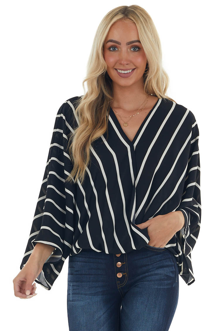 Black and Ivory Striped Surplice Neck Blouse