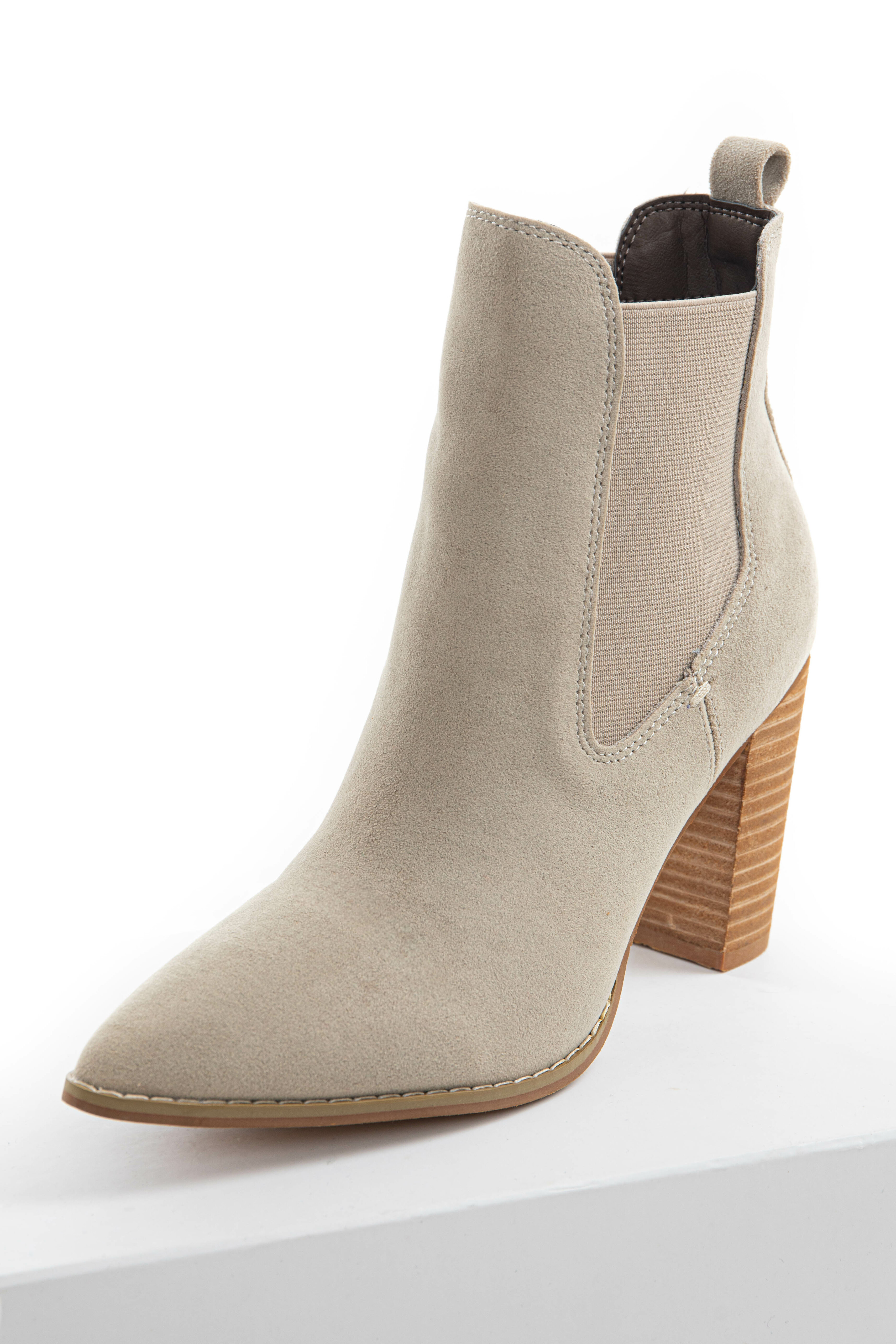 Oatmeal Pointed Toe Bootie with Side Panel