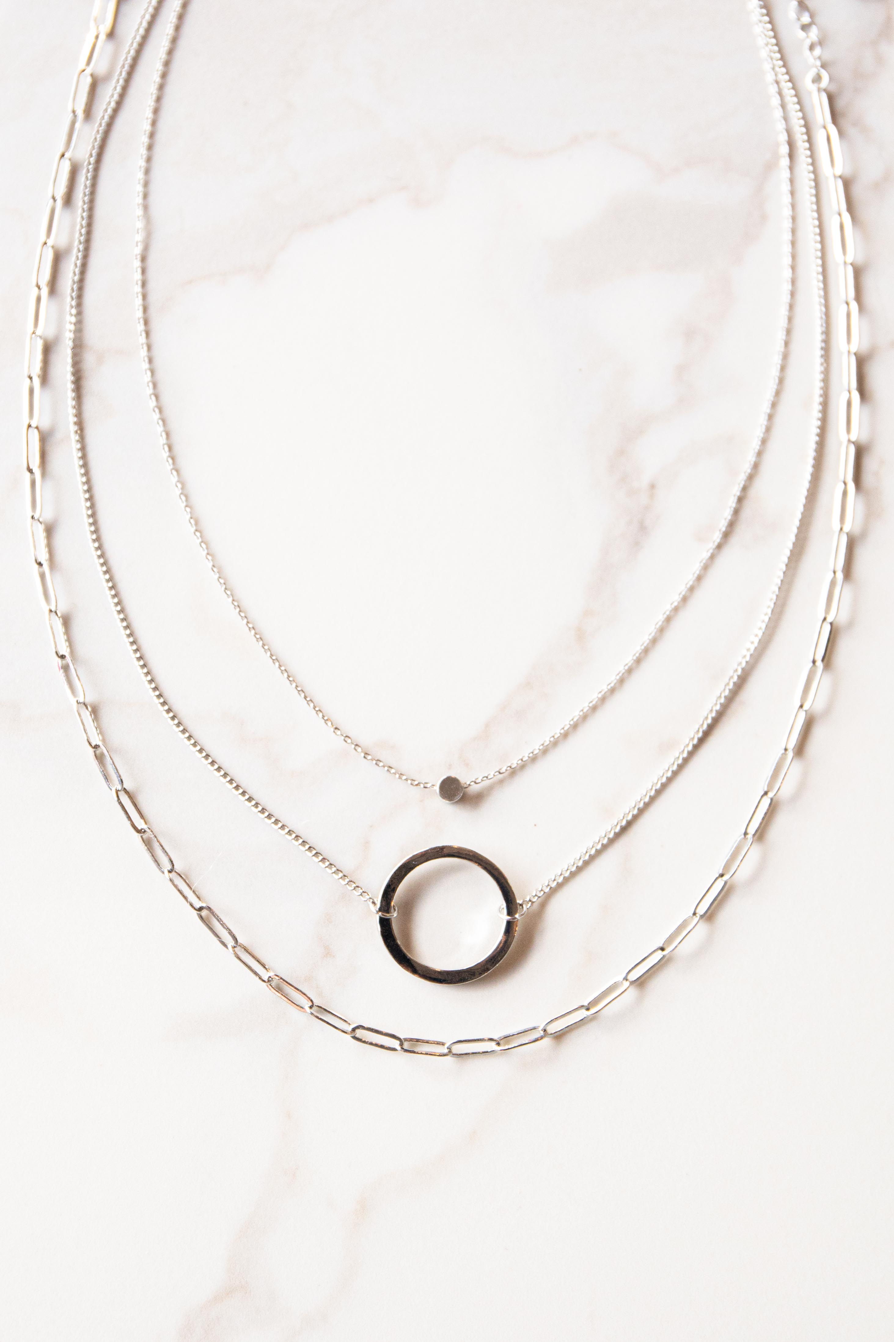 Silver Circle Pendant Layered Chain Necklace