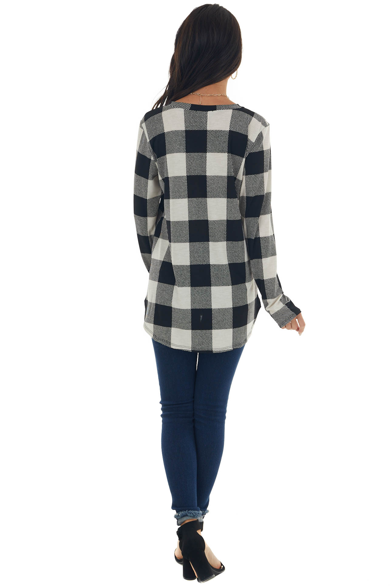 Ivory Buffalo Plaid Long Sleeve Top with Sequins Detail
