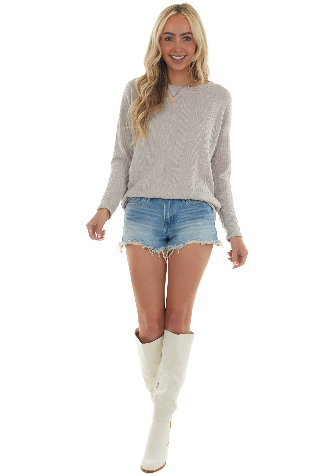 Latte Long Sleeve Textured Knit Sweater