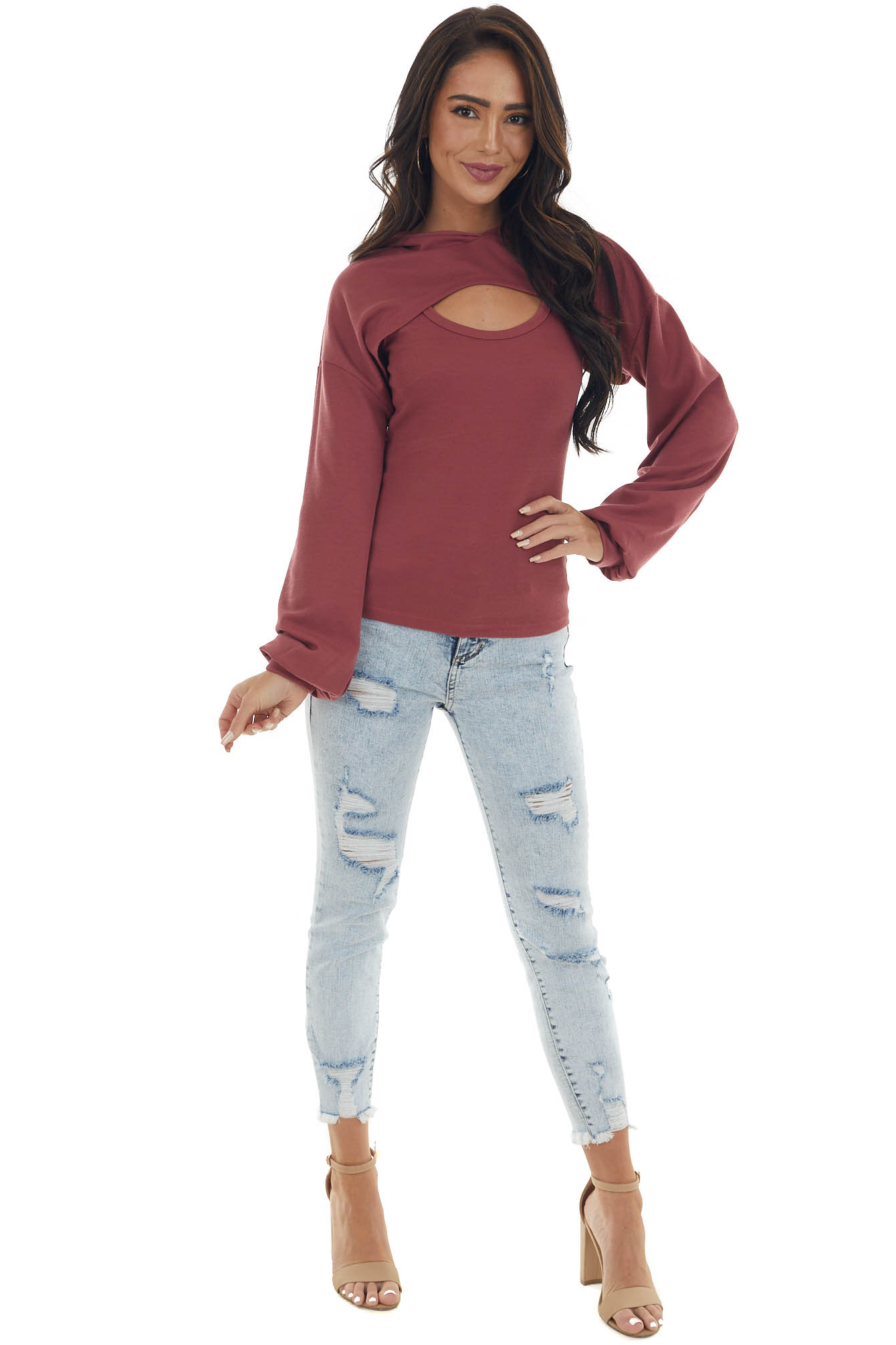 Berry Ribbed Tank Top and Cropped Hoodie Set