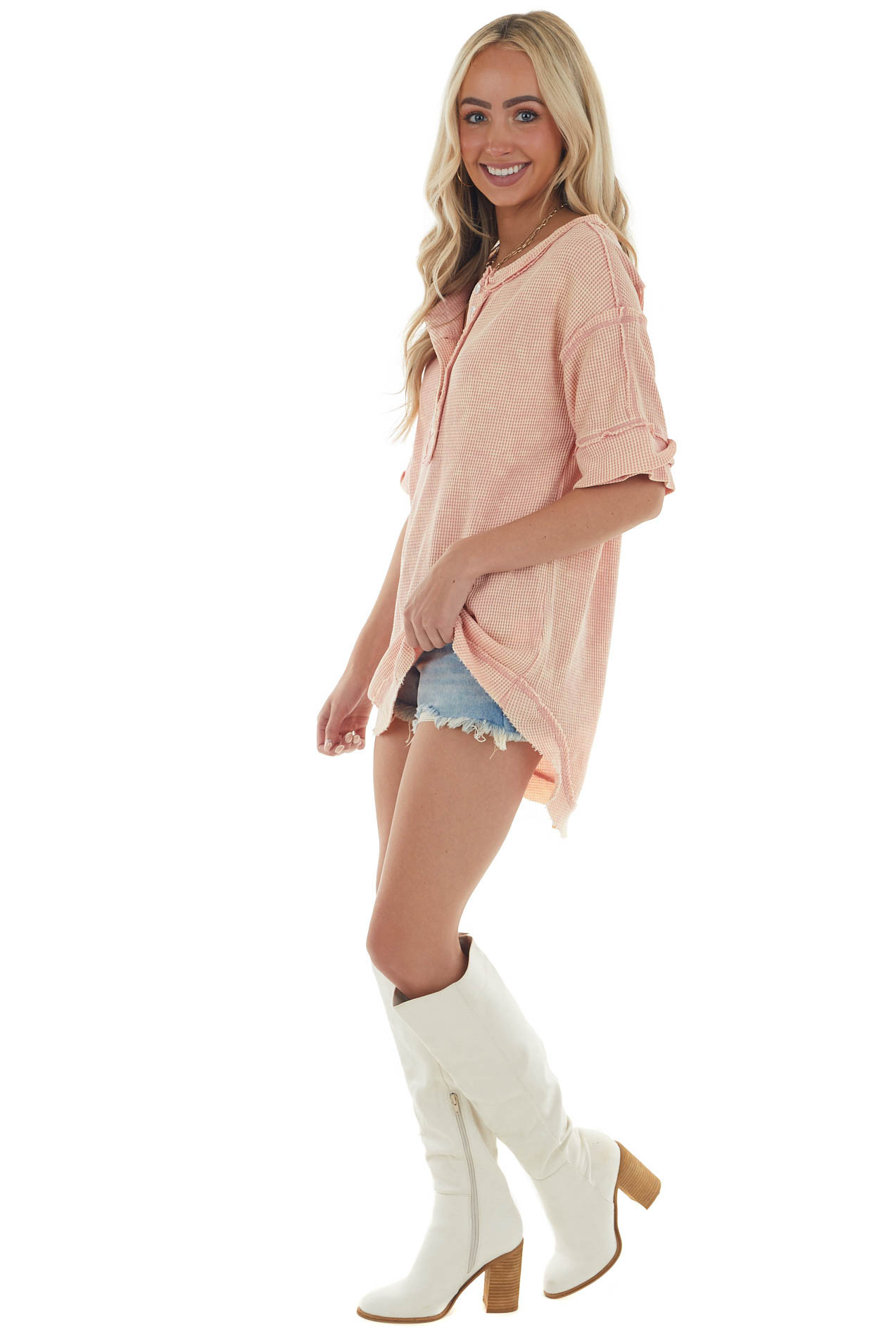 Washed Peach Button Up Rounded Hem Thermal Top