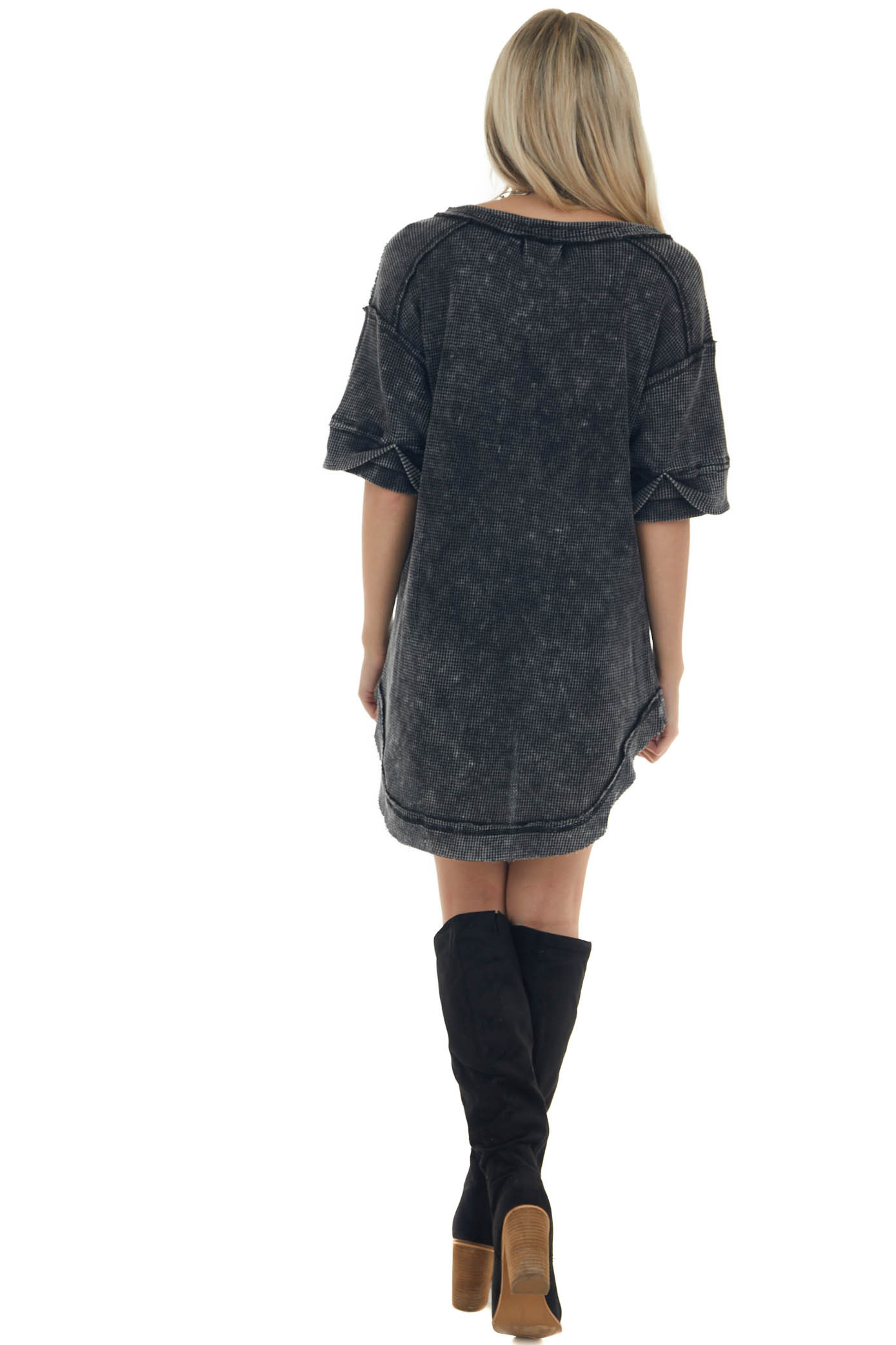 Washed Black Button Up Rounded Hem Thermal Top
