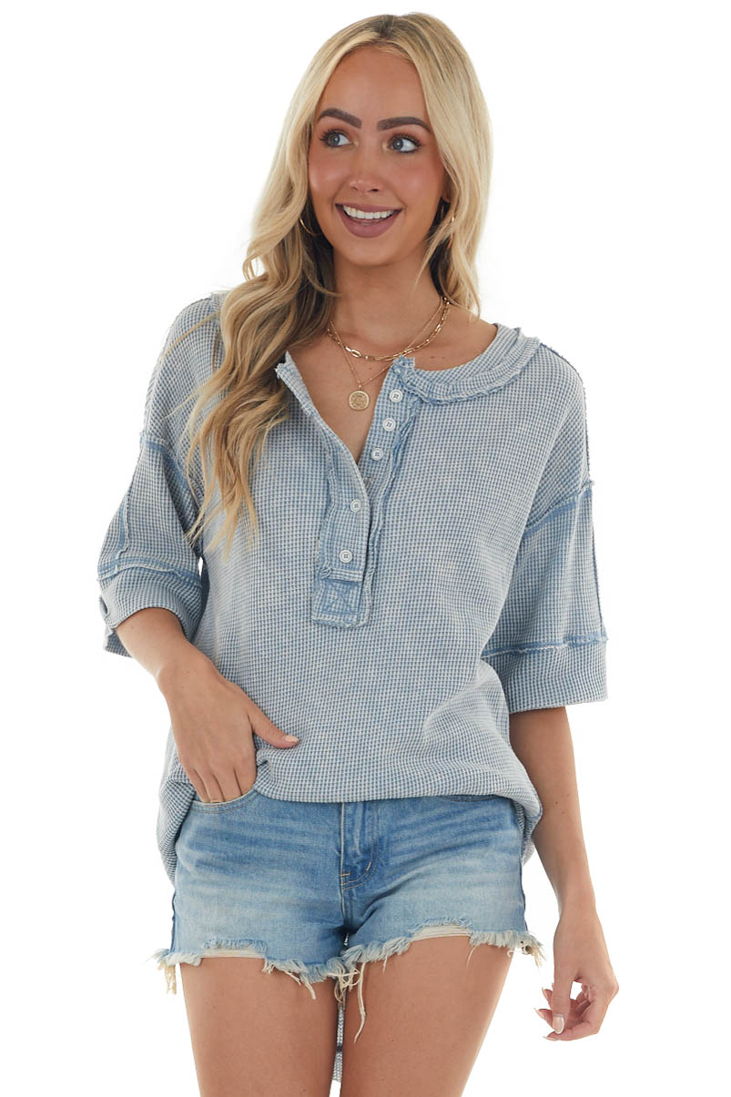 Washed Blue Button Up Rounded Hem Thermal Top