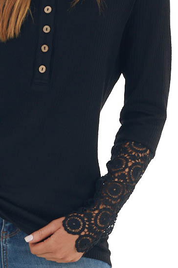 Black Long Lace Sleeve Ribbed Henley Top