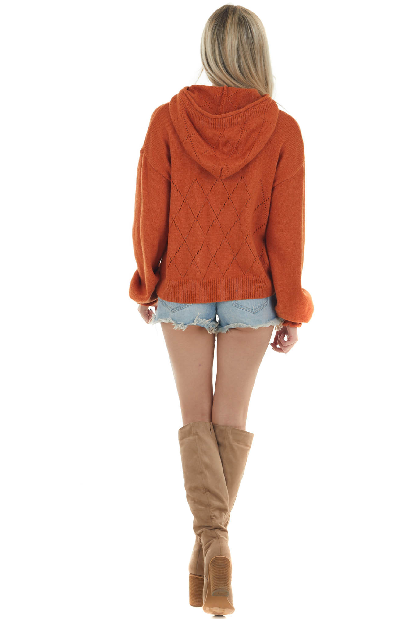 Tawny Argyle Hooded Sweater with Drawstrings
