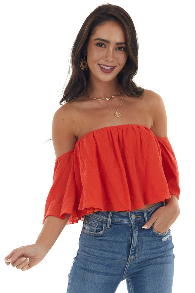 Dynamite Off the Shoulder Woven Flowy Crop Top
