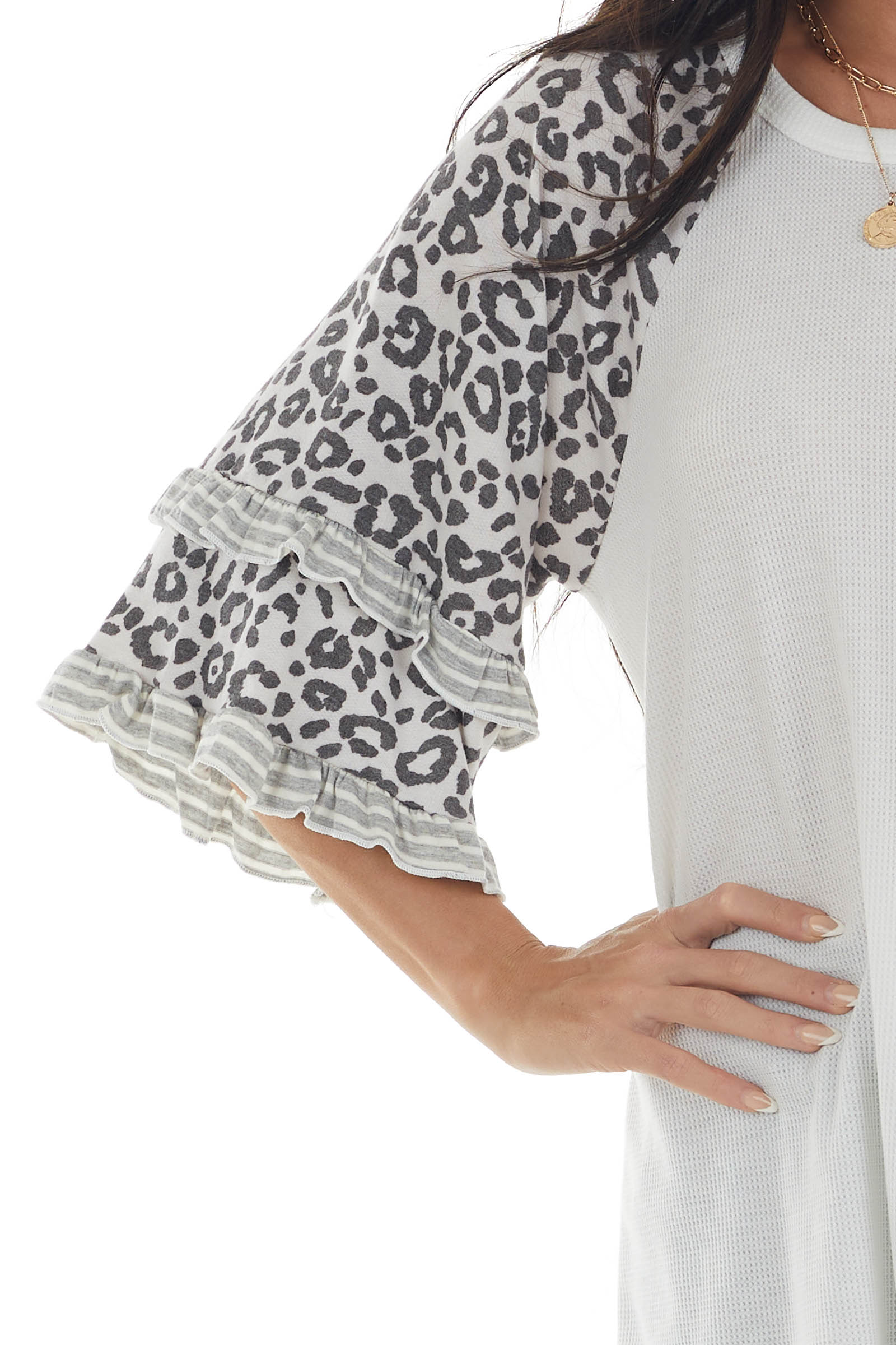 Off White Waffle Knit Tiered Leopard Sleeve