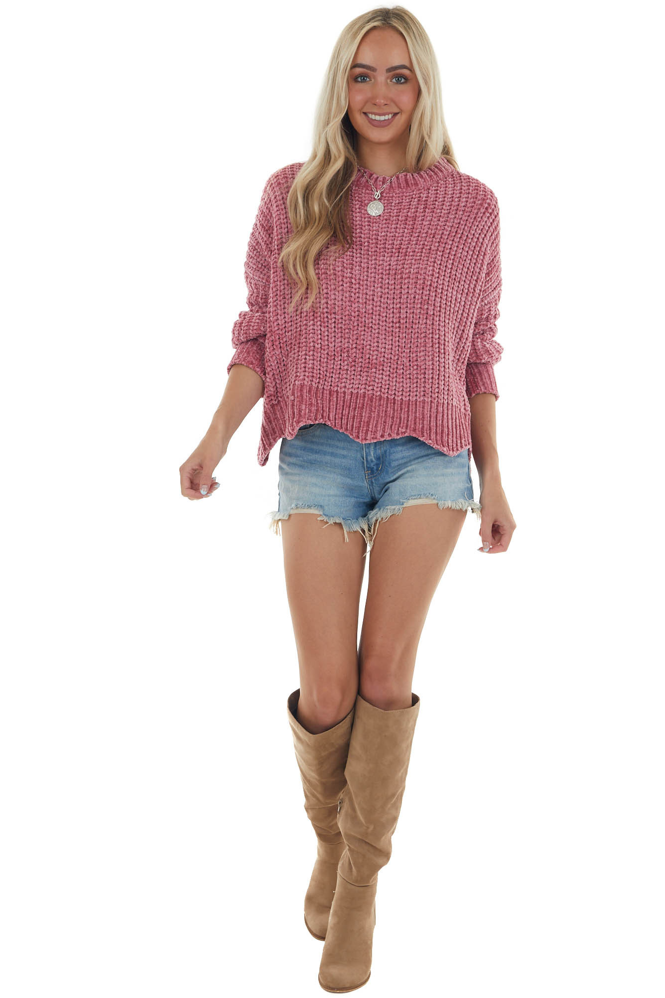 Hibiscus Chenille Sweater with Scalloped Hem