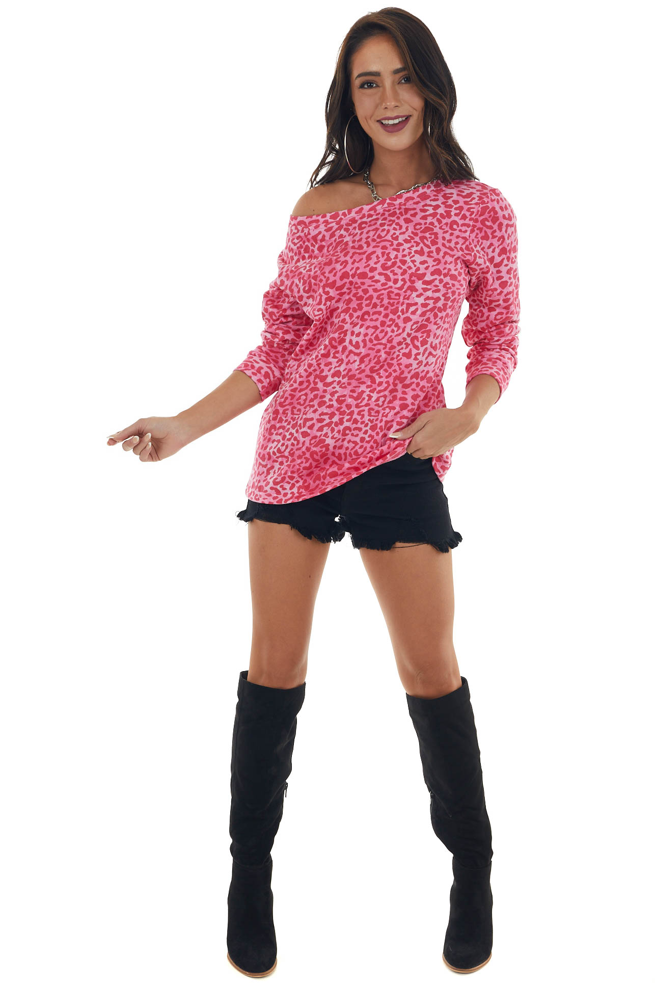 Hot Pink Leopard Print French Terry Pullover