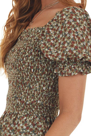 Willow Ditsy Floral Smocked Peplum Blouse