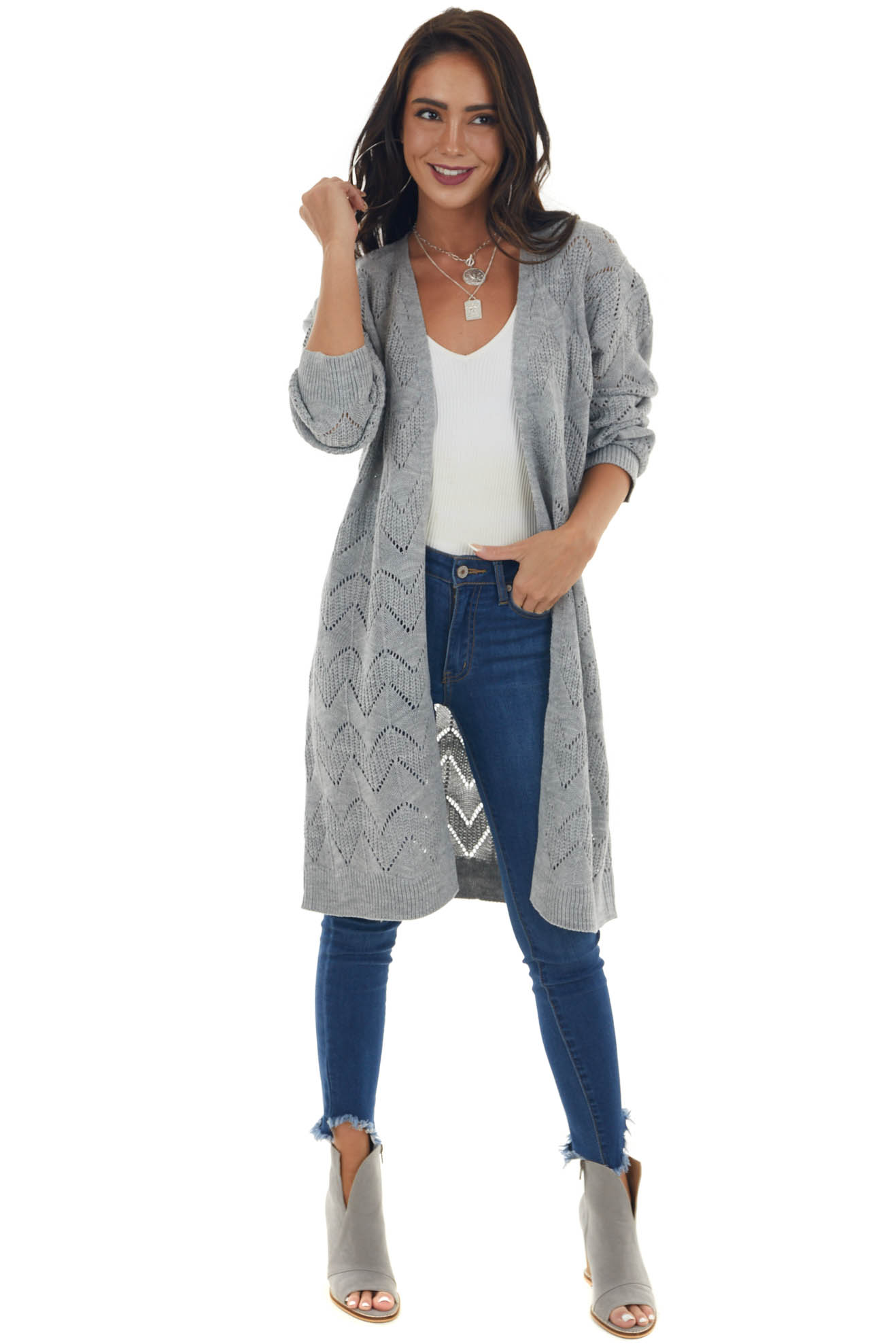 Dove Grey Open Front Pointelle Duster Cardigan