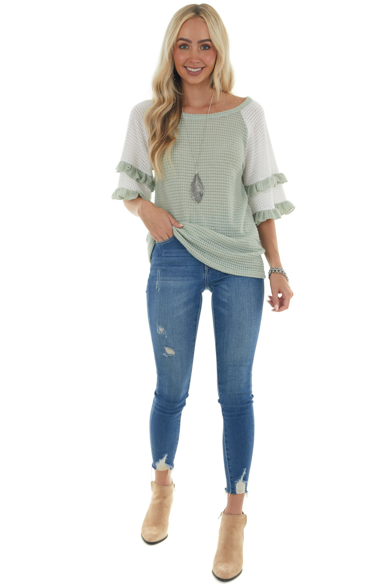 Ivory and Sage Waffle Knit Tiered Sleeve Top