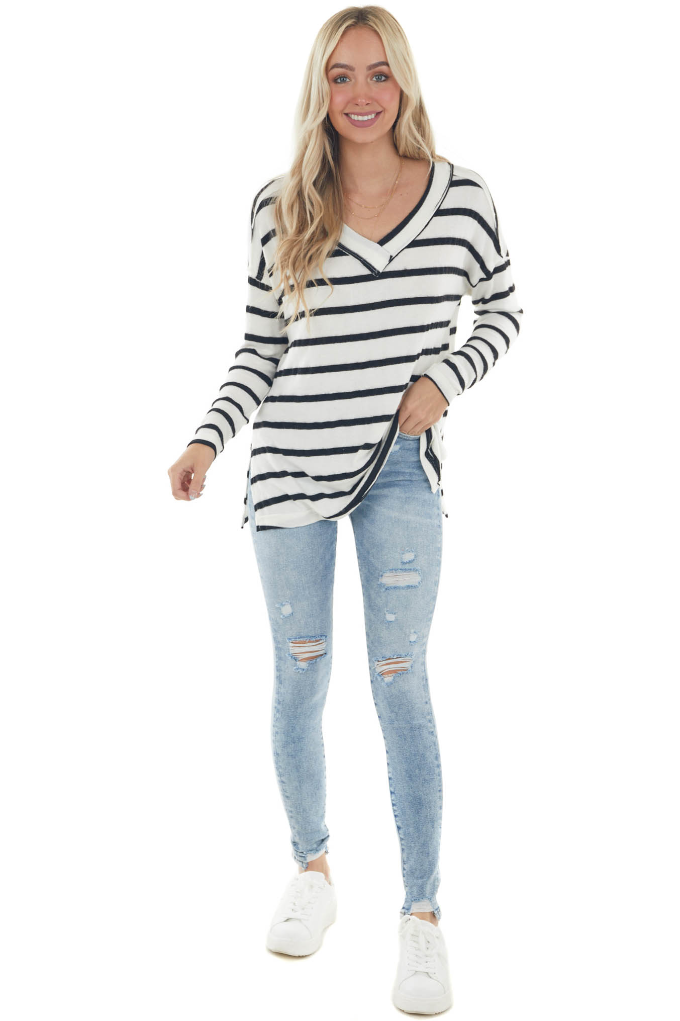 vory and Black Striped Long Sleeve Knit Top