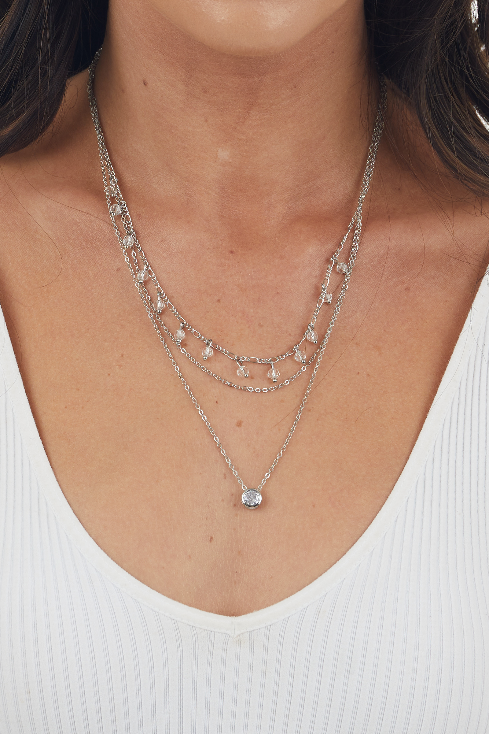 Silver Ball Chain Necklace with Rhinestone Gem