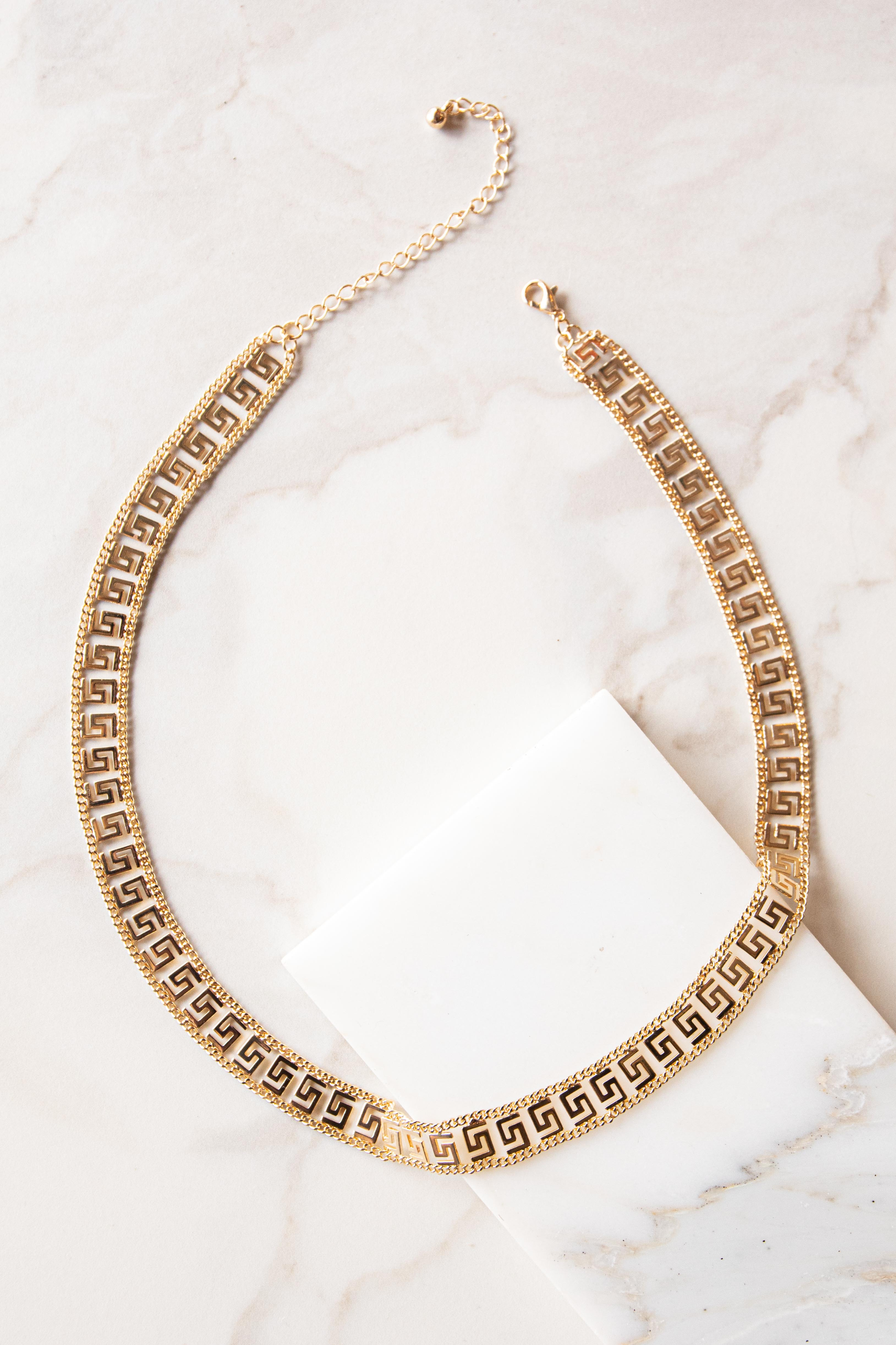 Gold Geometric Patterned Flat Necklace -_02021