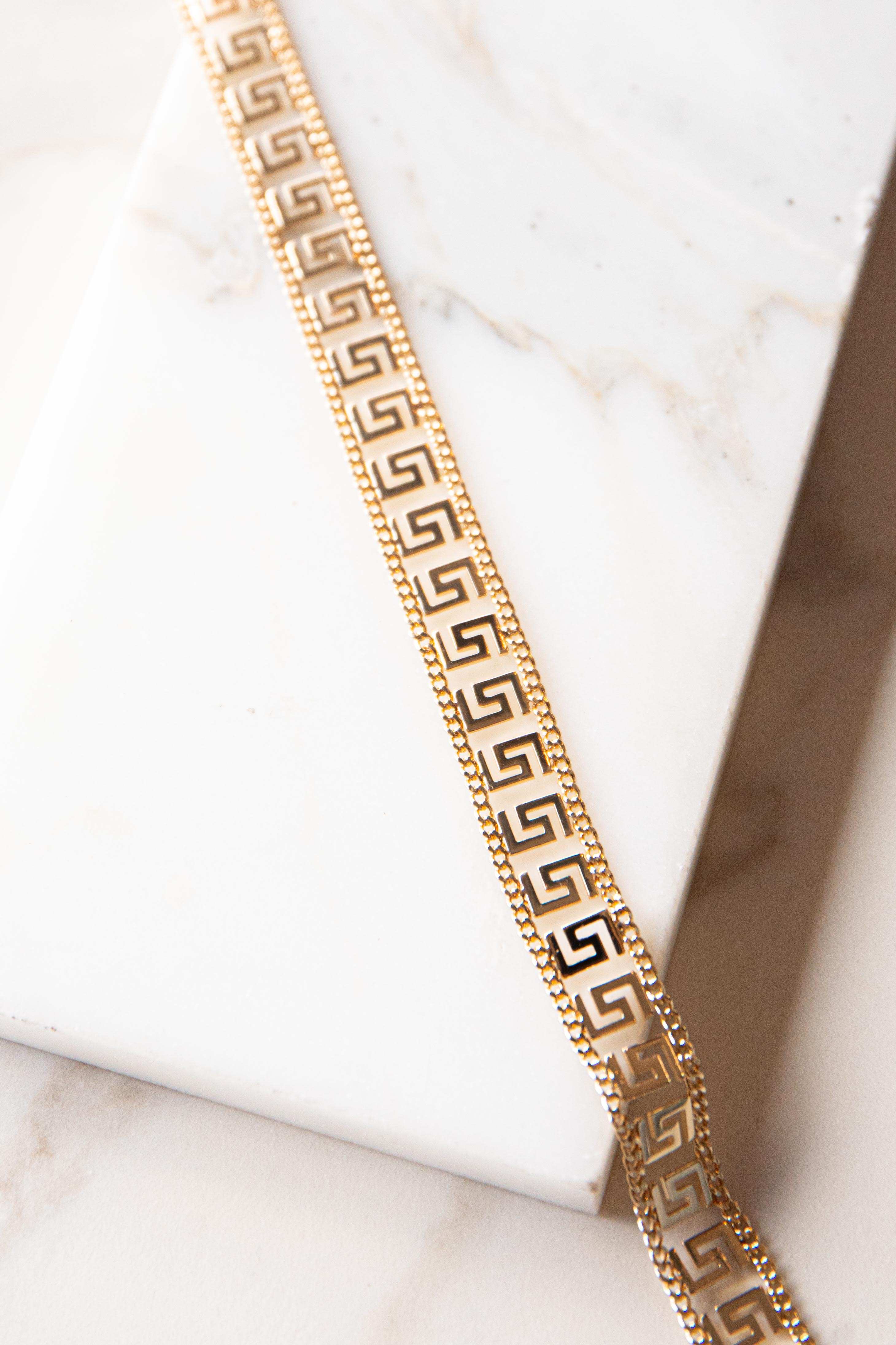 Gold Geometric Patterned Flat Necklace
