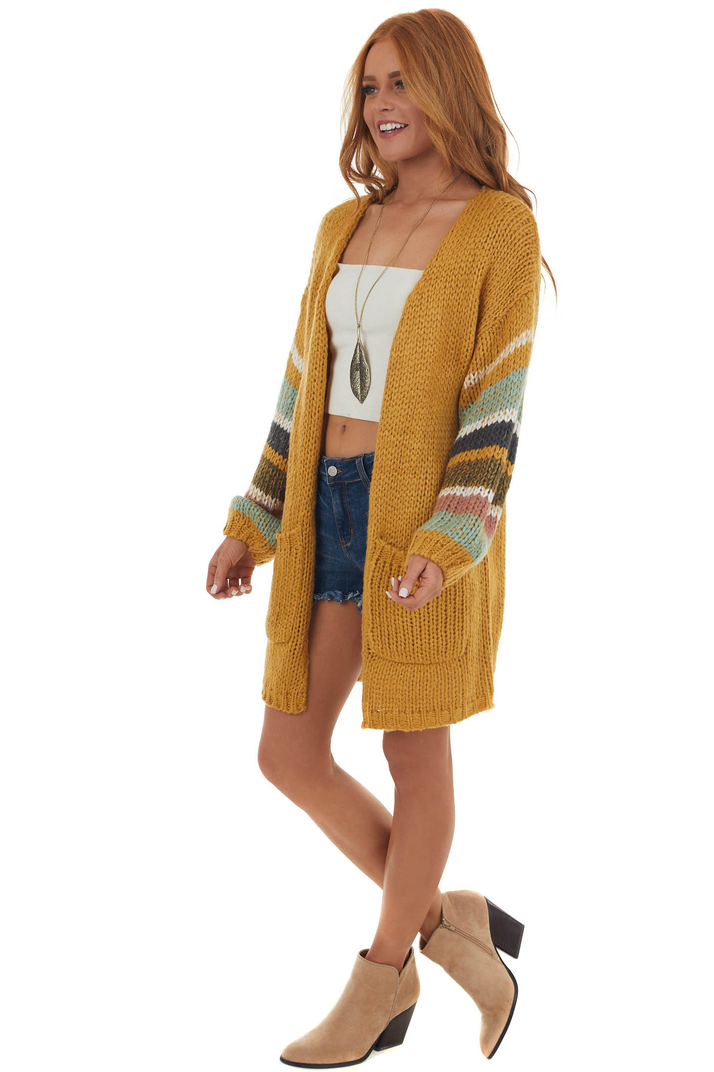 Marigold Colorblock Sleeve Thick Knit Cardigan