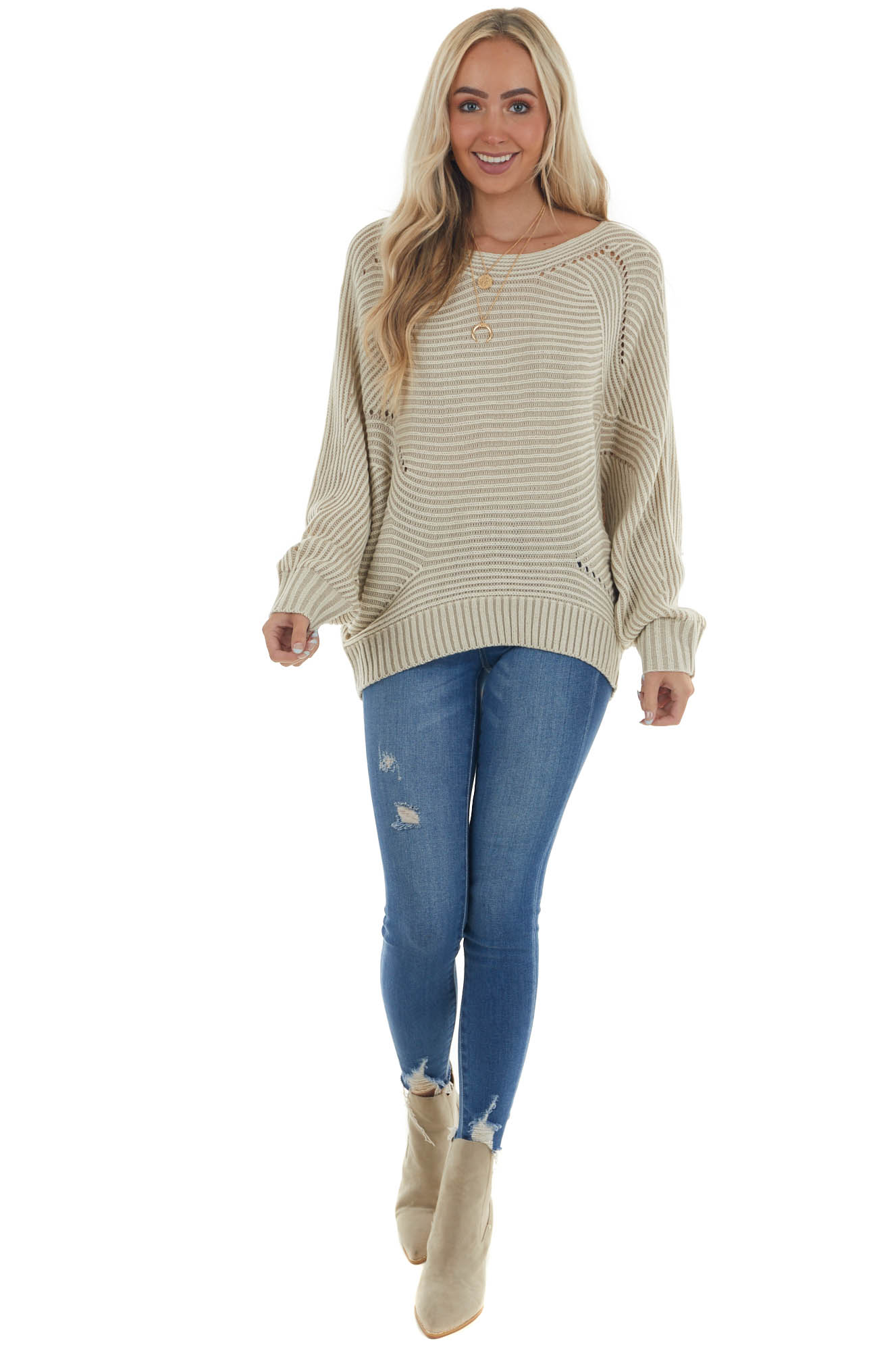 Light Taupe Two Toned Dolman Sleeve Sweater