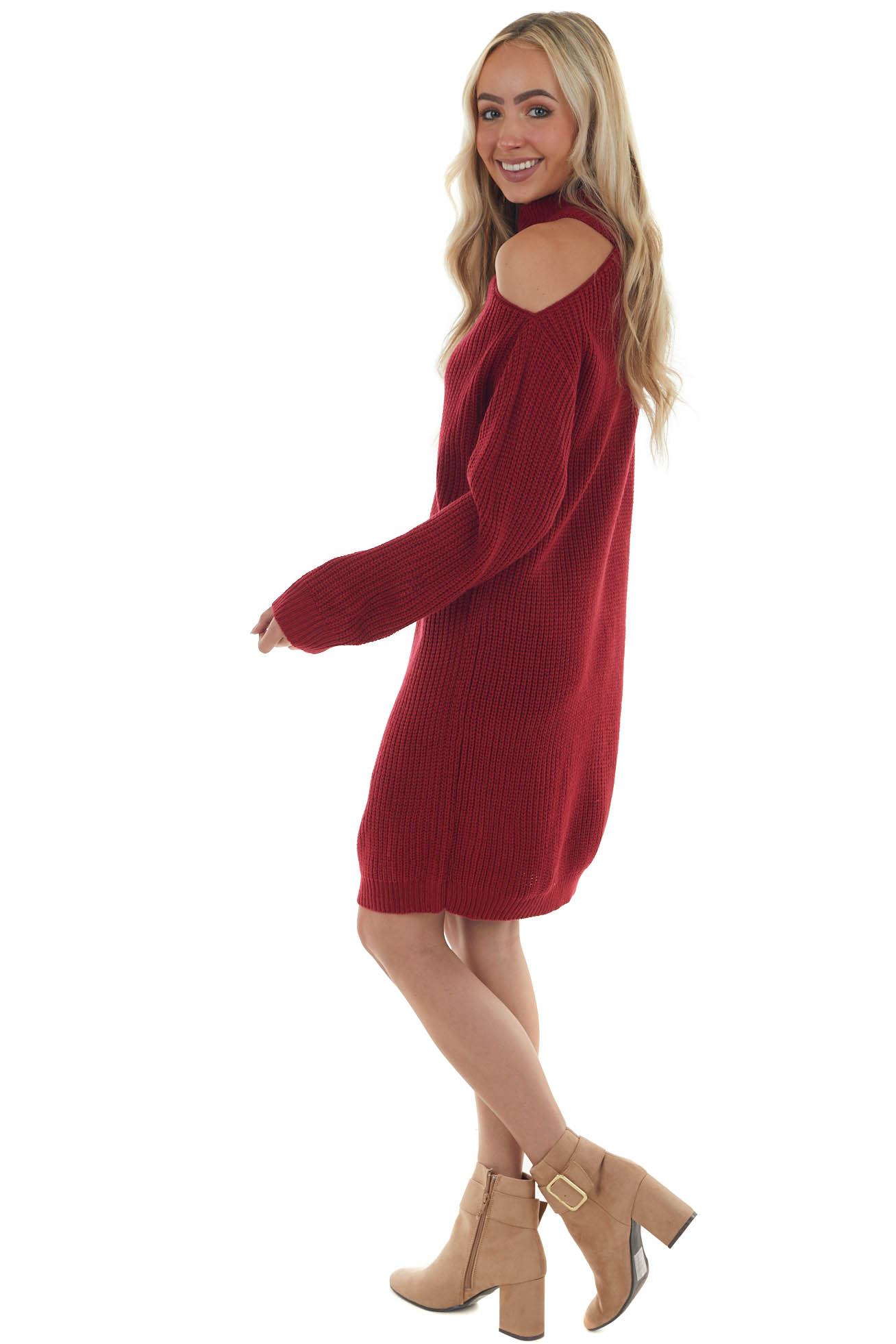 Ruby Cold Shoulder Ribbed Knit Sweater Mini Dress
