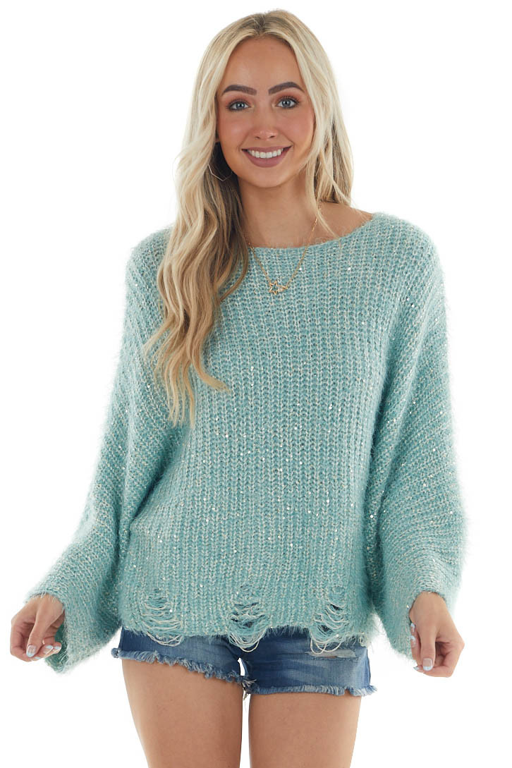 Arctic Blue Wide Sleeve Fuzzy Knit Sweater