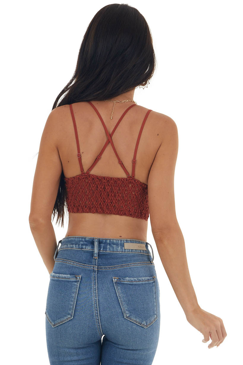 Chestnut Floral Lace Bralette with Criss Cross Straps
