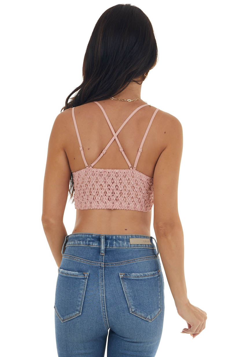 Cherry Blossom Floral Lace Bralette with Criss Cross Straps