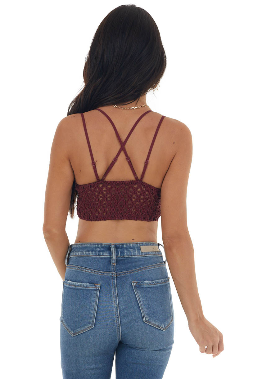 Dark Berry Floral Lace Bralette with Criss Cross Straps