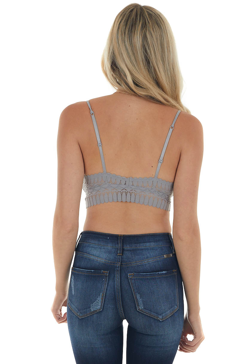 Steel Grey Scalloped Trim Padded Lace Bralette