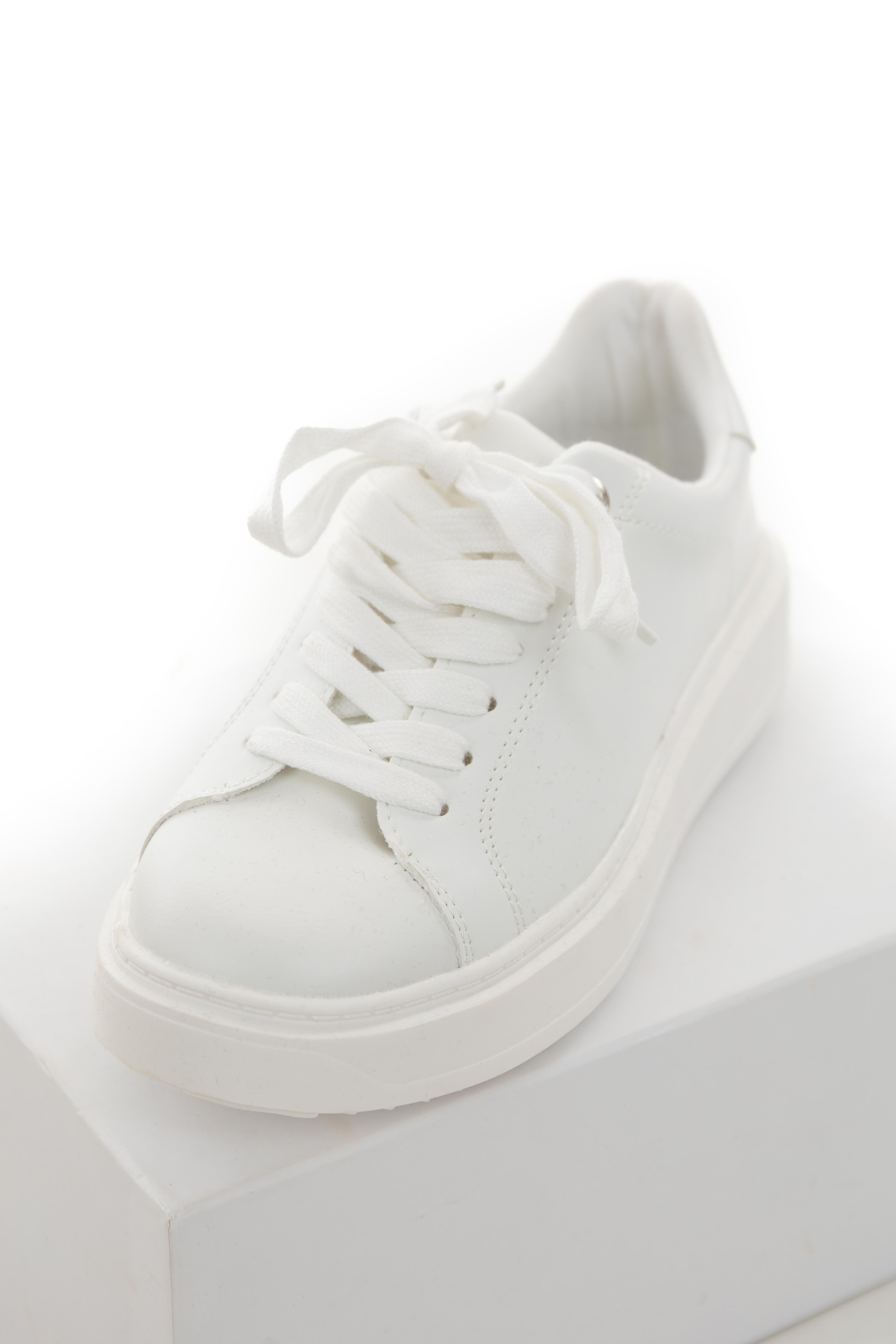 Off White Low Top Lace Up Sneakers