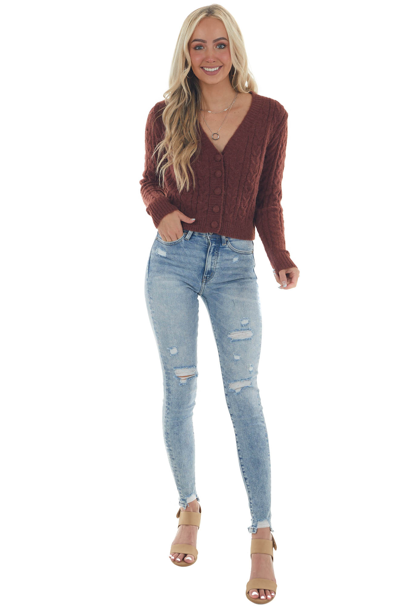 Sangria Button Up Fuzzy Cable Knit Cardigan