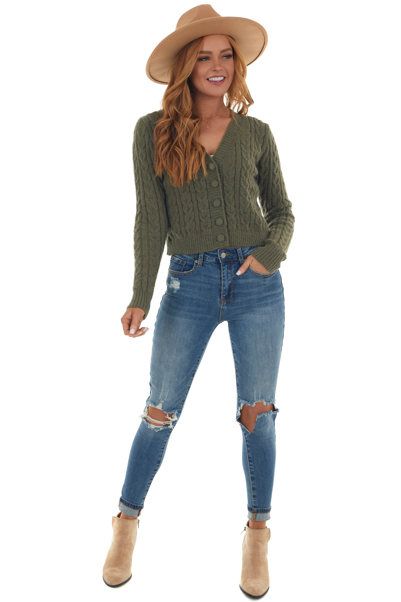 Willow Button Up Fuzzy Cable Knit Cardigan