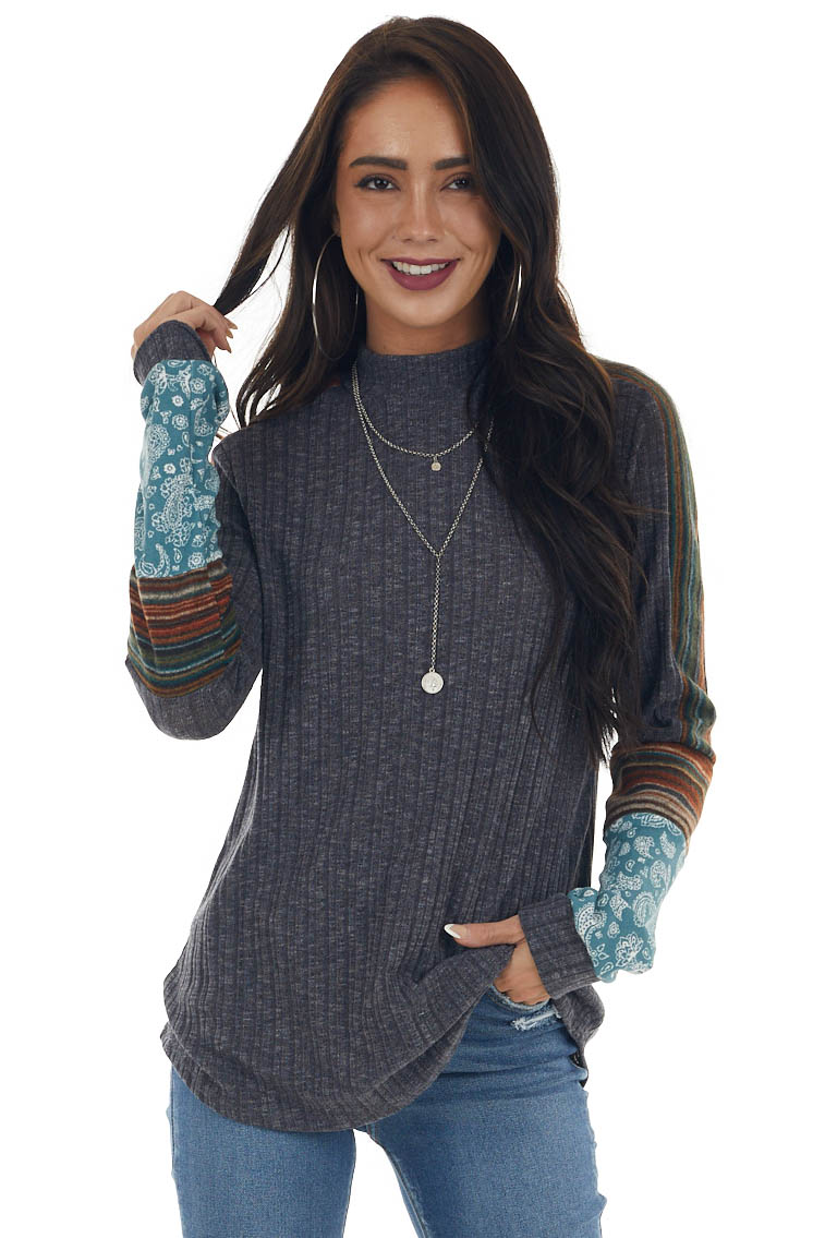 Charcoal Multiprint Contrast Ribbed Knit Top